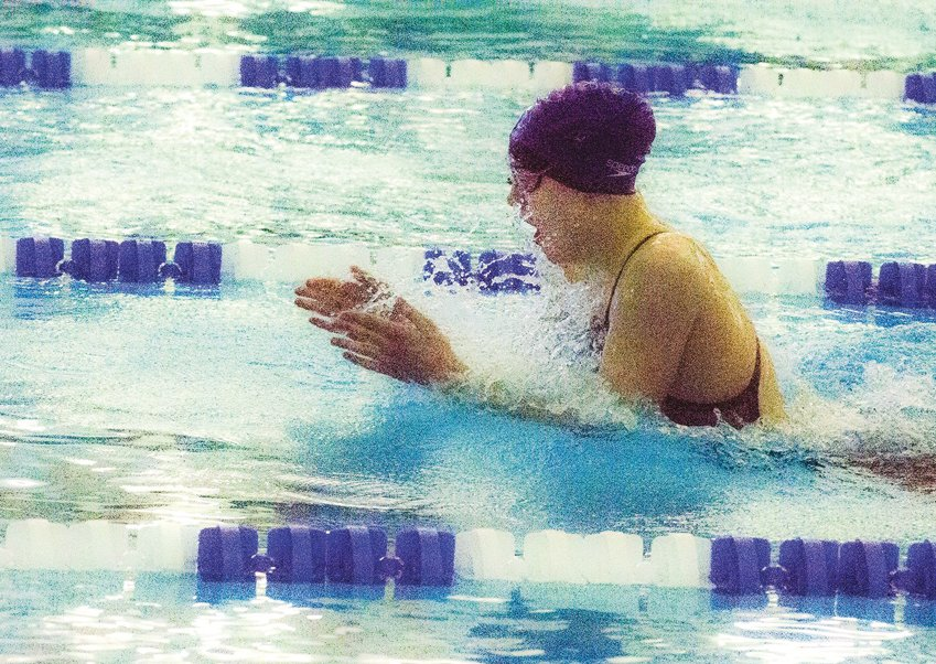 Jordan-Matthews' Jennah Fadely competed in the 2020 NCHSAA 1A/2A Swimming and Diving Championships in February.