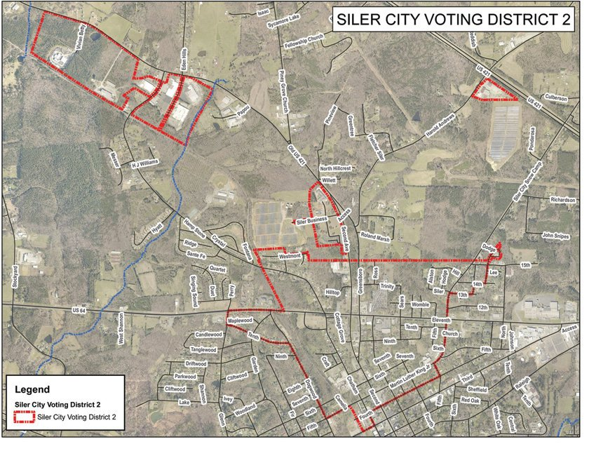 Map of District 2 in Siler City.