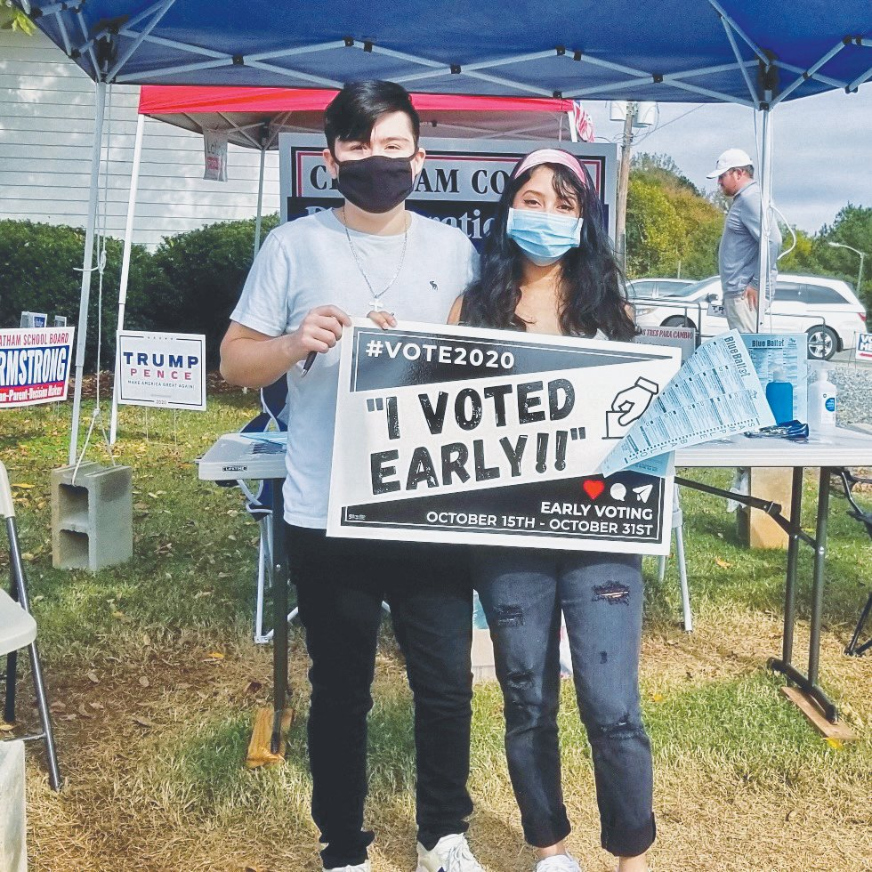 Kimberly Lara, 18, voted early on Monday at Paul Braxton Gym in Siler City with her boyfriend, Fernando Soto. Both of them voted for the first time in a general election.