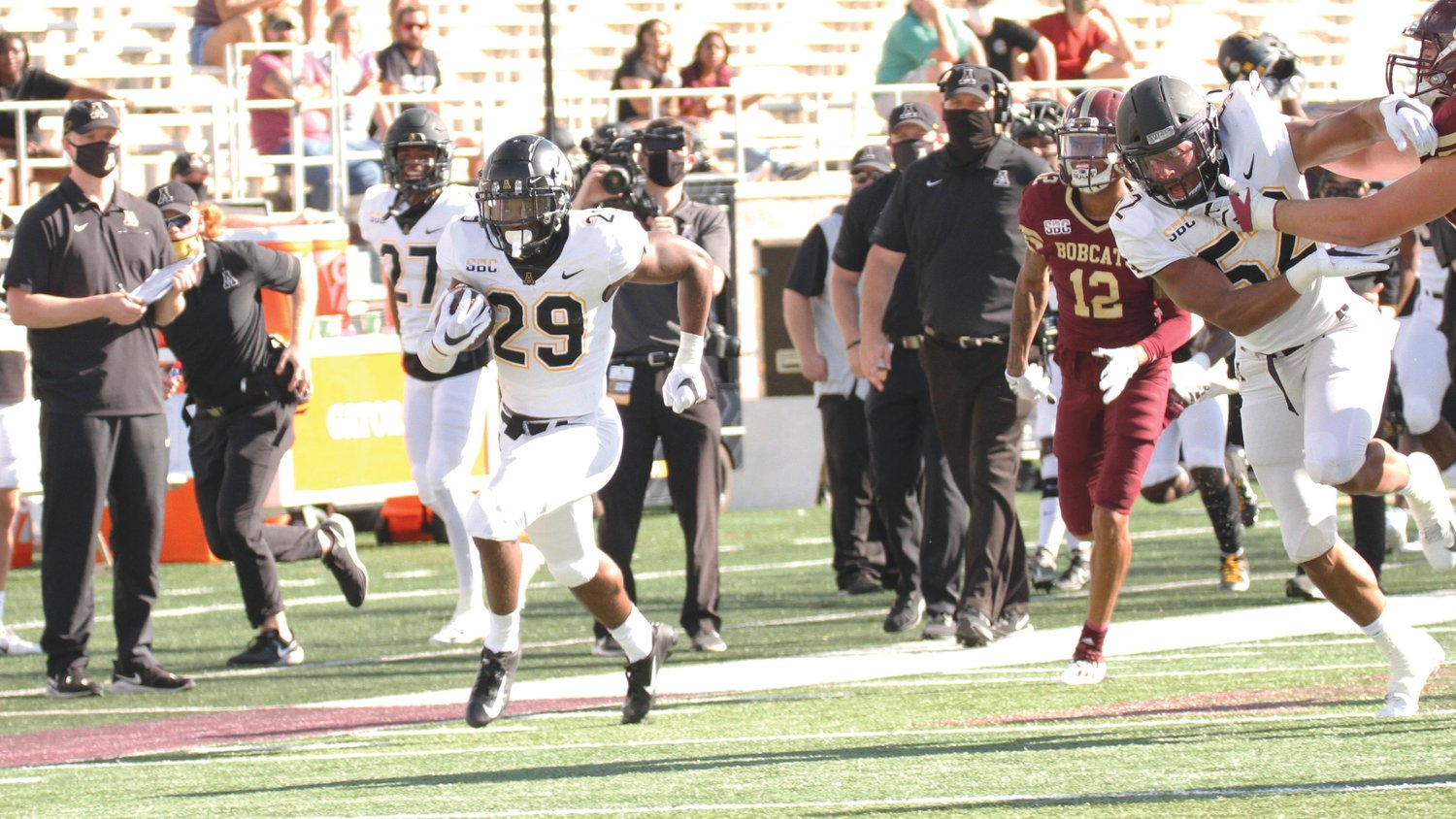 Harrington's pick-six against Texas State two weekends ago was his first career touchdown at the college level.