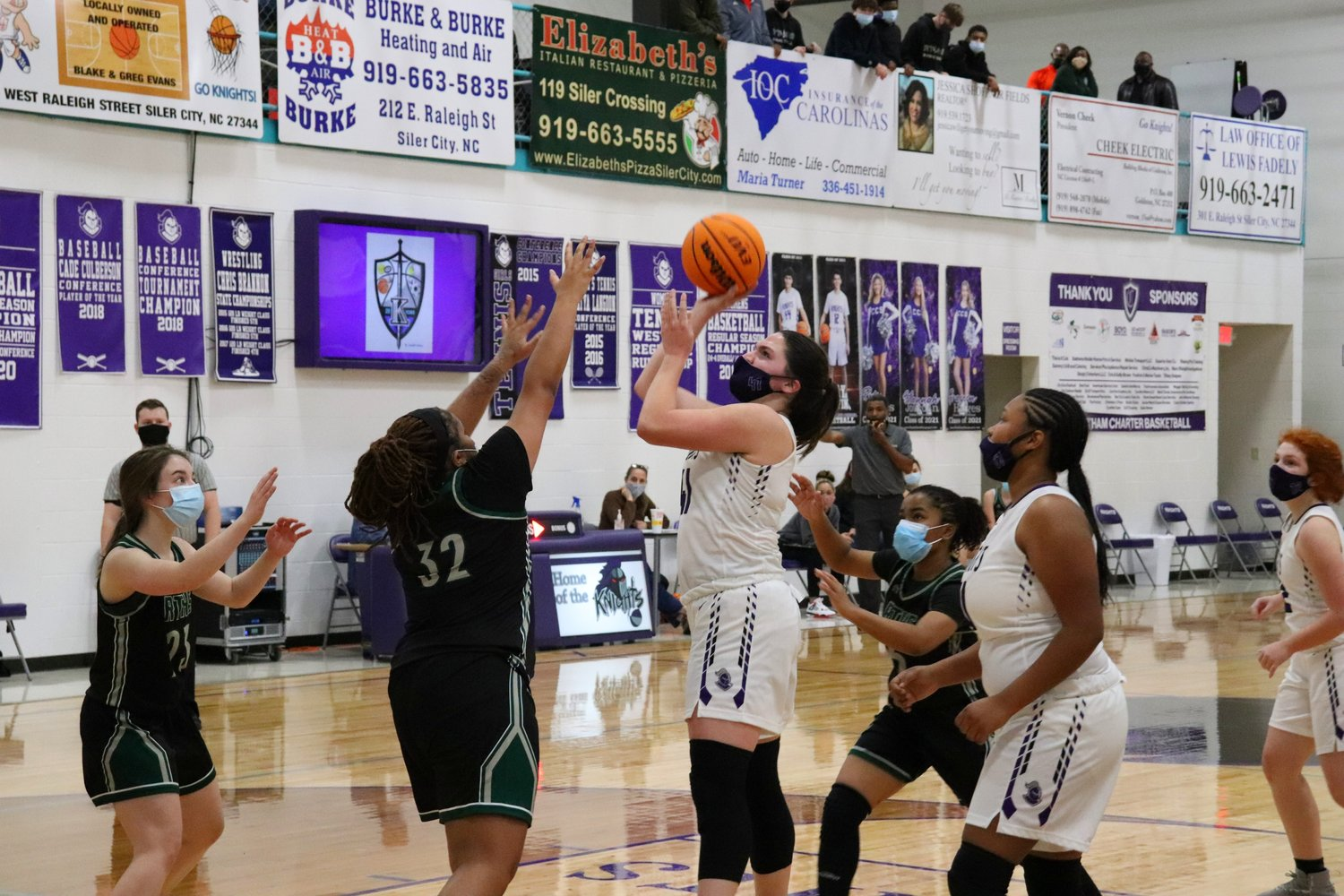 Chatham Charter senior forward Rebecca McGaughnea (41) did the 'dirty work' in Tuesday's win over Research Triangle, head coach Jamarr Ross said.