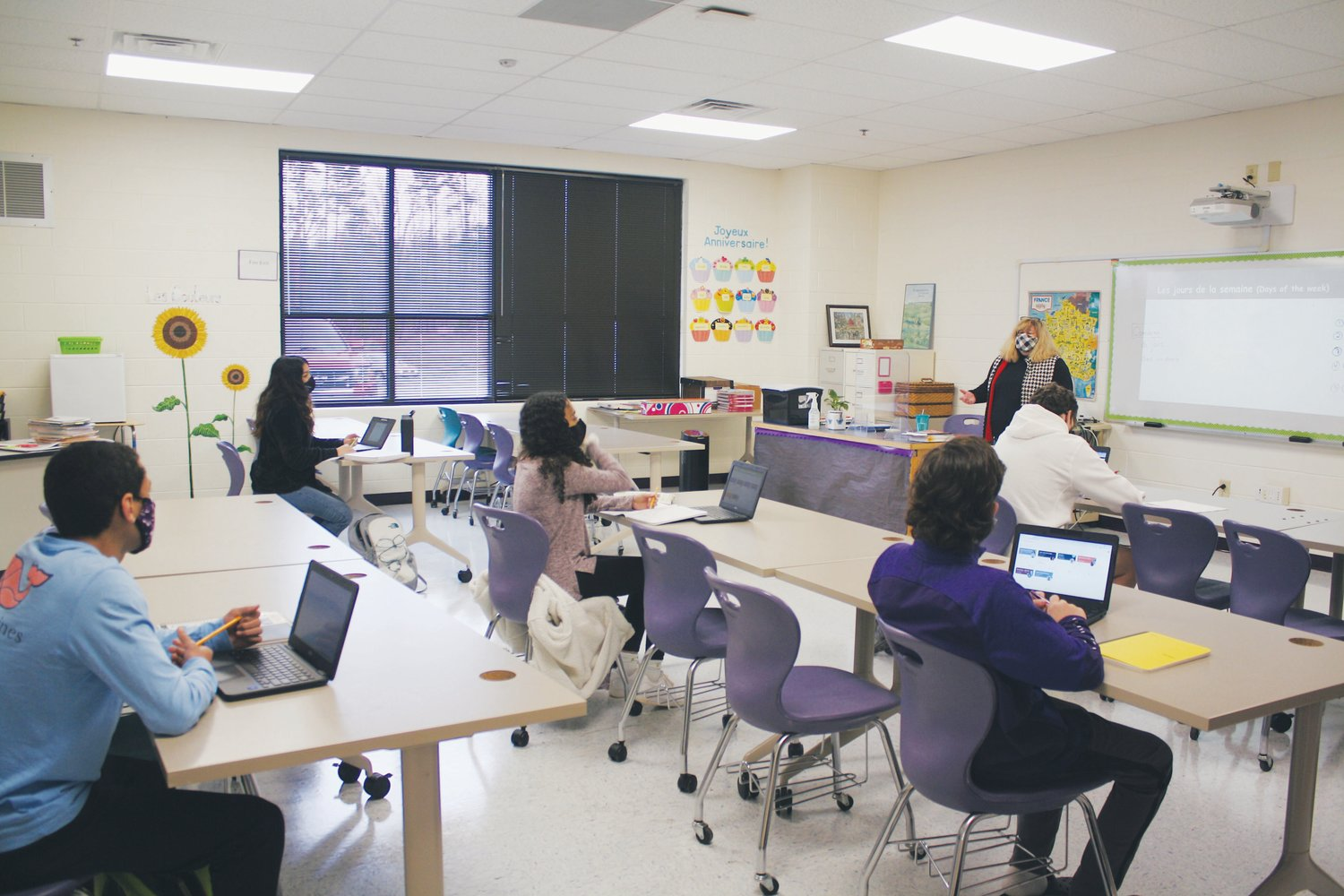 Chatham Charter high school students learning under Plan B in February. Chatham Charter is one of three currently charter schools in Chatham currently open to students.