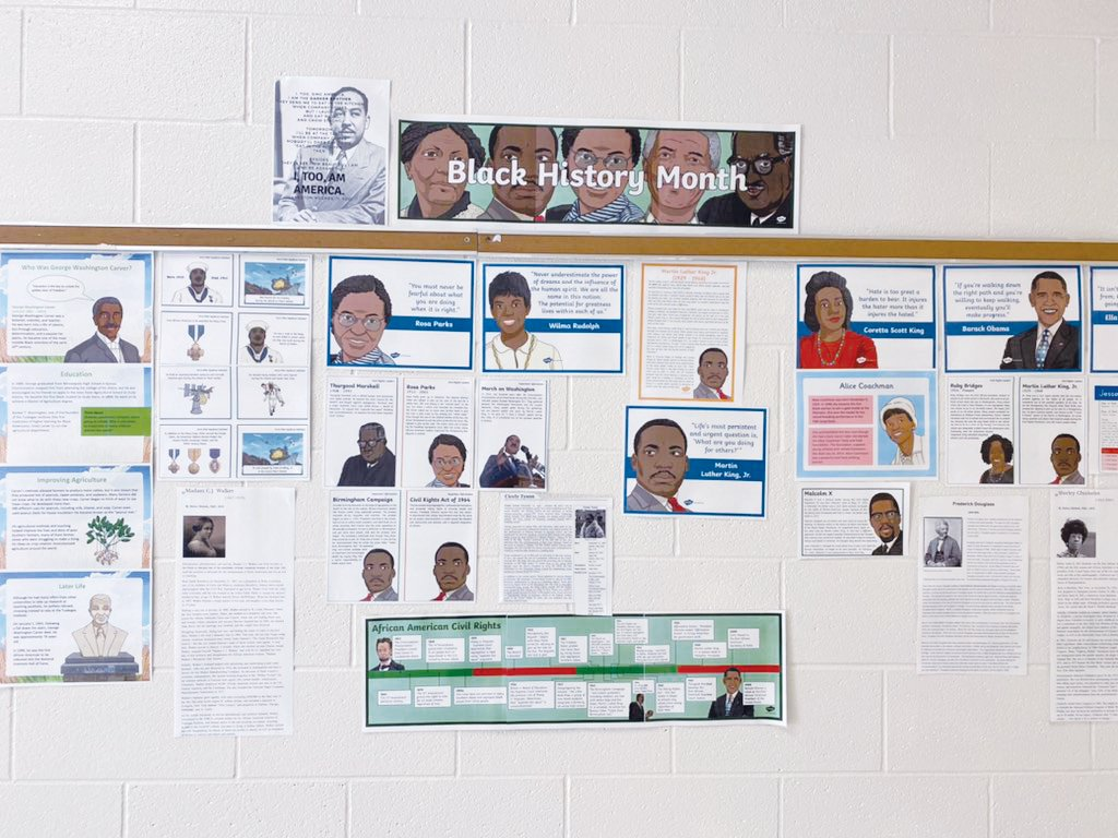 Judit Zimo, ESL teacher at Chatham Middle School, made a timeline of Black history in her school's hallway to celebrate Black History Month.