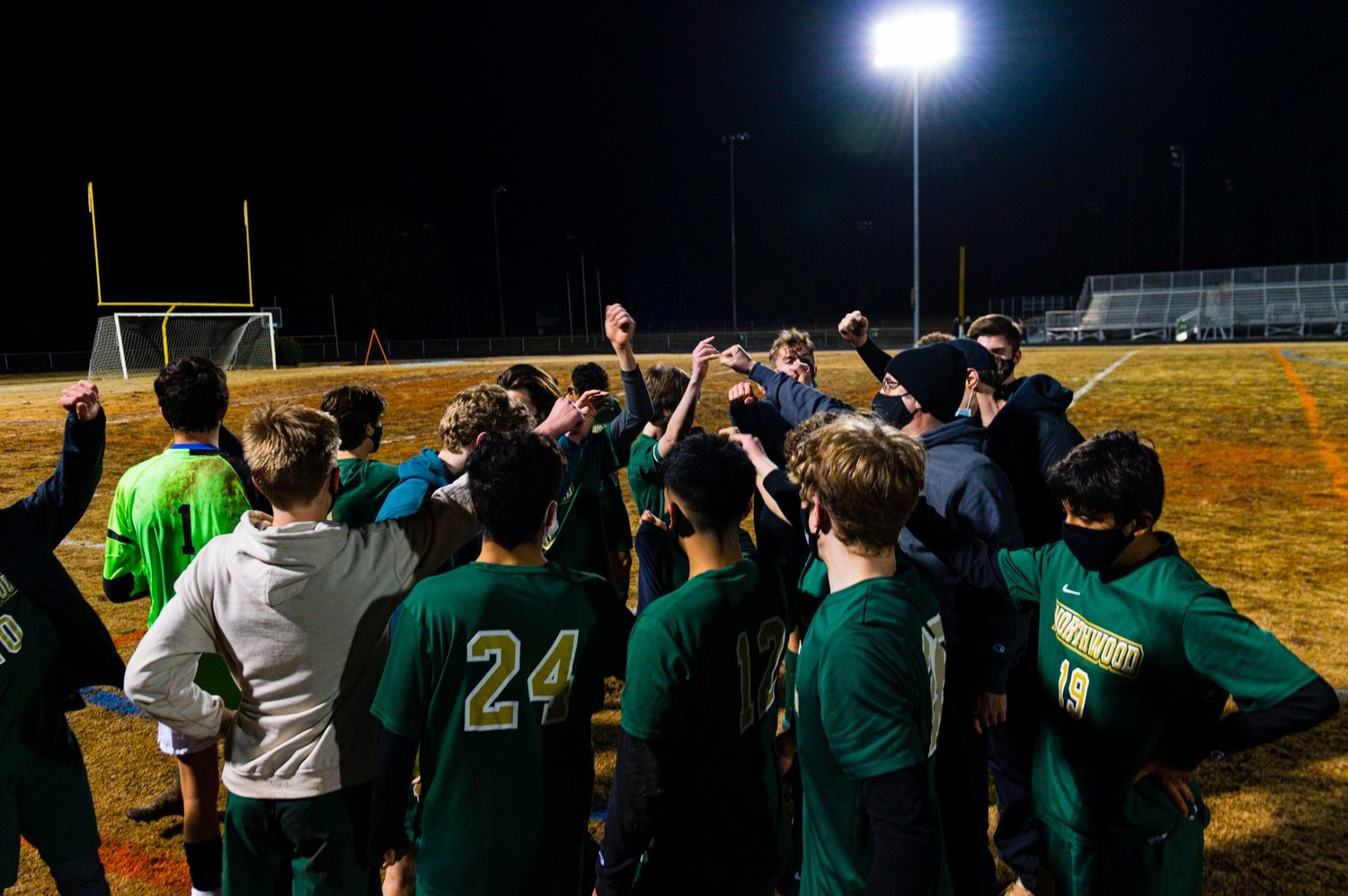 The Northwood men's soccer team gathers for a postgame huddle following its 4-0 victory against Orange on Wednesday. The Chargers improved to 3-2 with the win.