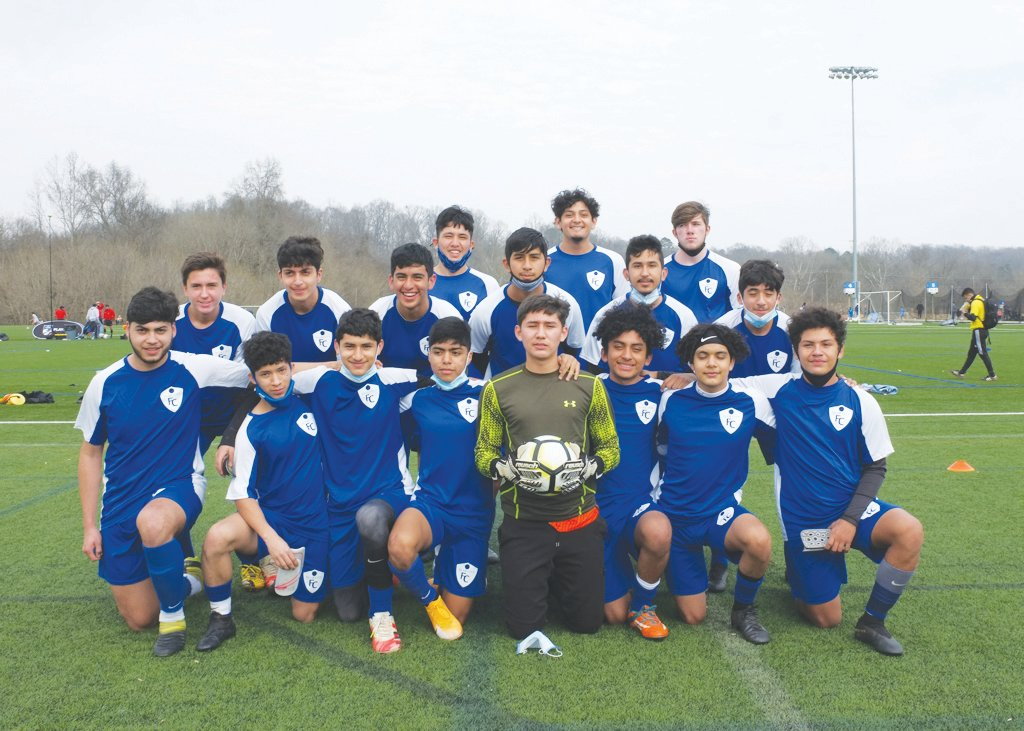 Siler City Futbol Club's U17 men's soccer team poses for a team photo during the Southern Soccer Boys Showcase at Truist Park in Bermuda Run, N.C. The club won the Gold Division after posting a 3-0 record in its first tournament under the Siler City FC crest.