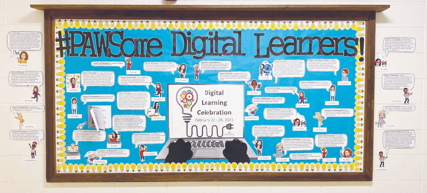Teachers at Pittsboro Elementary School celebrated exemplary digital learners by creating a bulletin board praising students for things like making creative Google Slides presentations, or helping other students navigate digital platforms.
