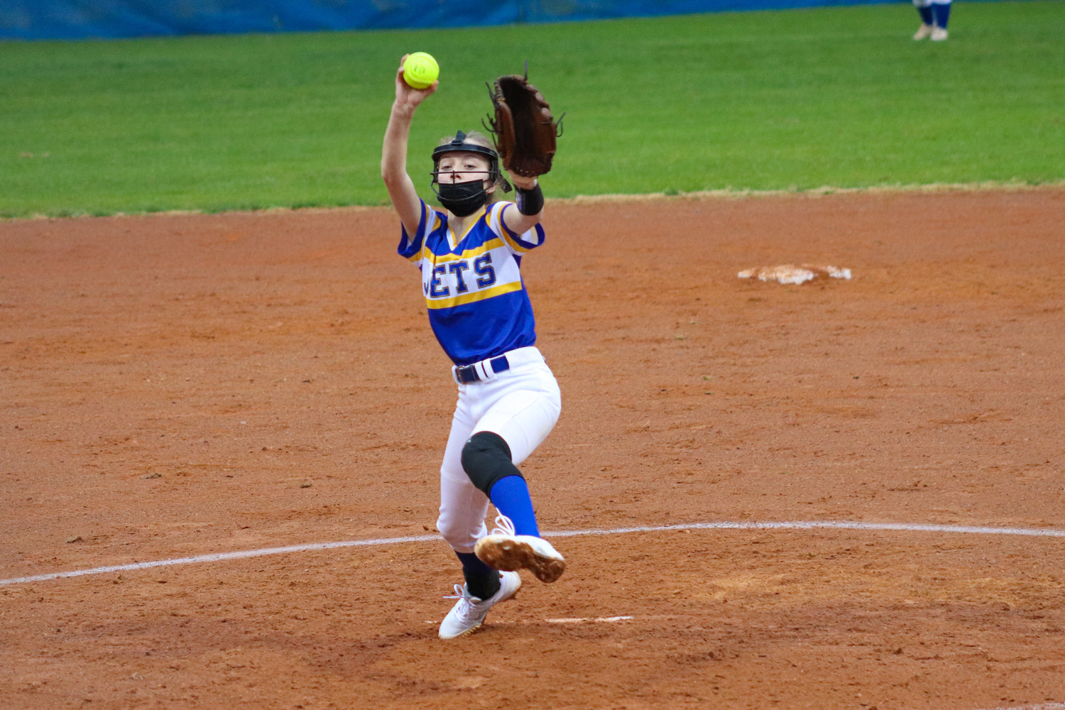 Jordan-Matthews sophomore pitcher Macy Beavers winds up a pitch in her team's season-opening loss to Randleman, 15-5, on Tuesday. Beavers registered two strikeouts on the night.