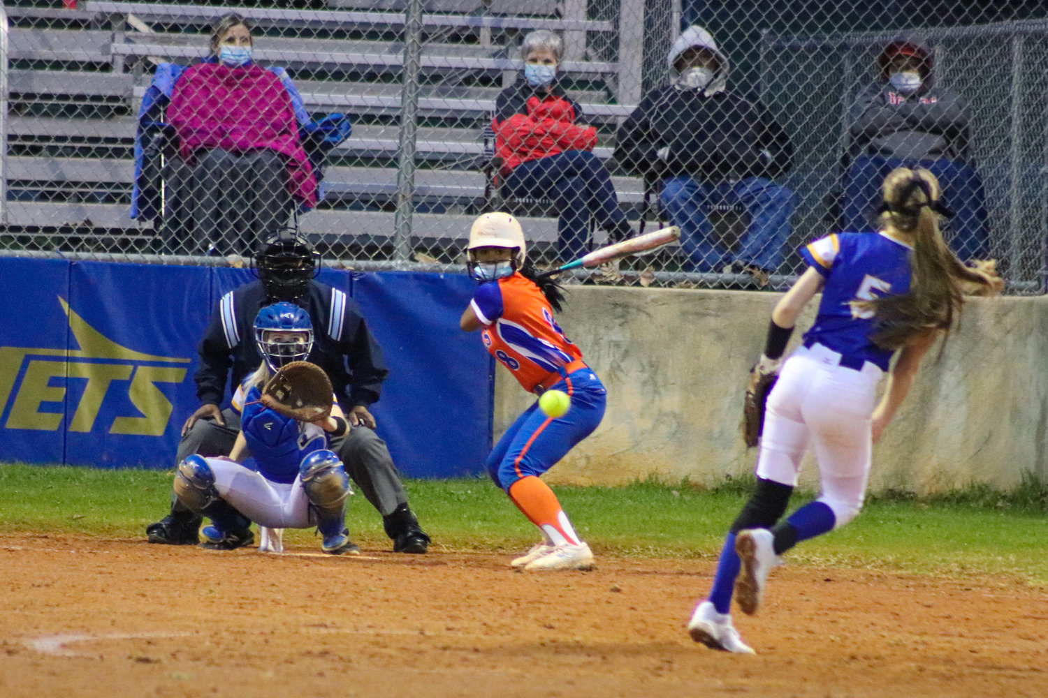 Jordan-Matthews sophomore pitcher Macy Beavers (5) throws a pitch to Randleman sophomore Jordan Booker (8) in the Jets' season-opening 15-5 loss to Randleman on Tuesday. Beavers threw 112 pitches, allowing 15 runs on 15 hits against the Tigers.