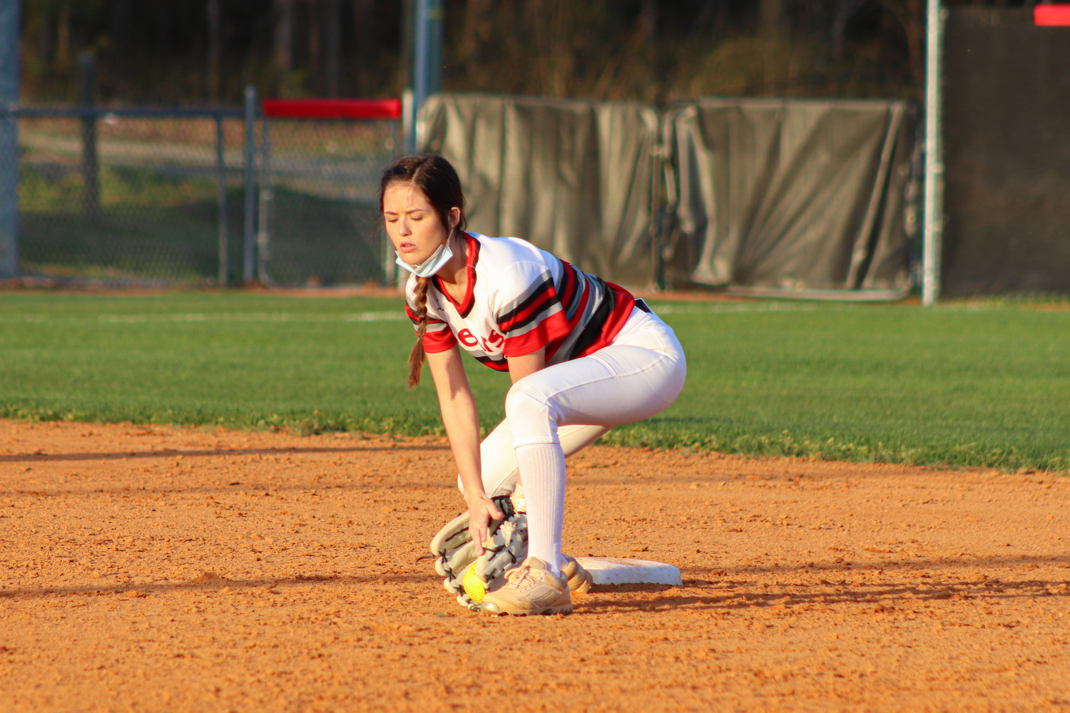 Chatham Central senior Lindsay Polston fields a ground ball in her team's 12-0 victory over North Rowan on March 30. Polston is one of three seniors on the Bears' roster.