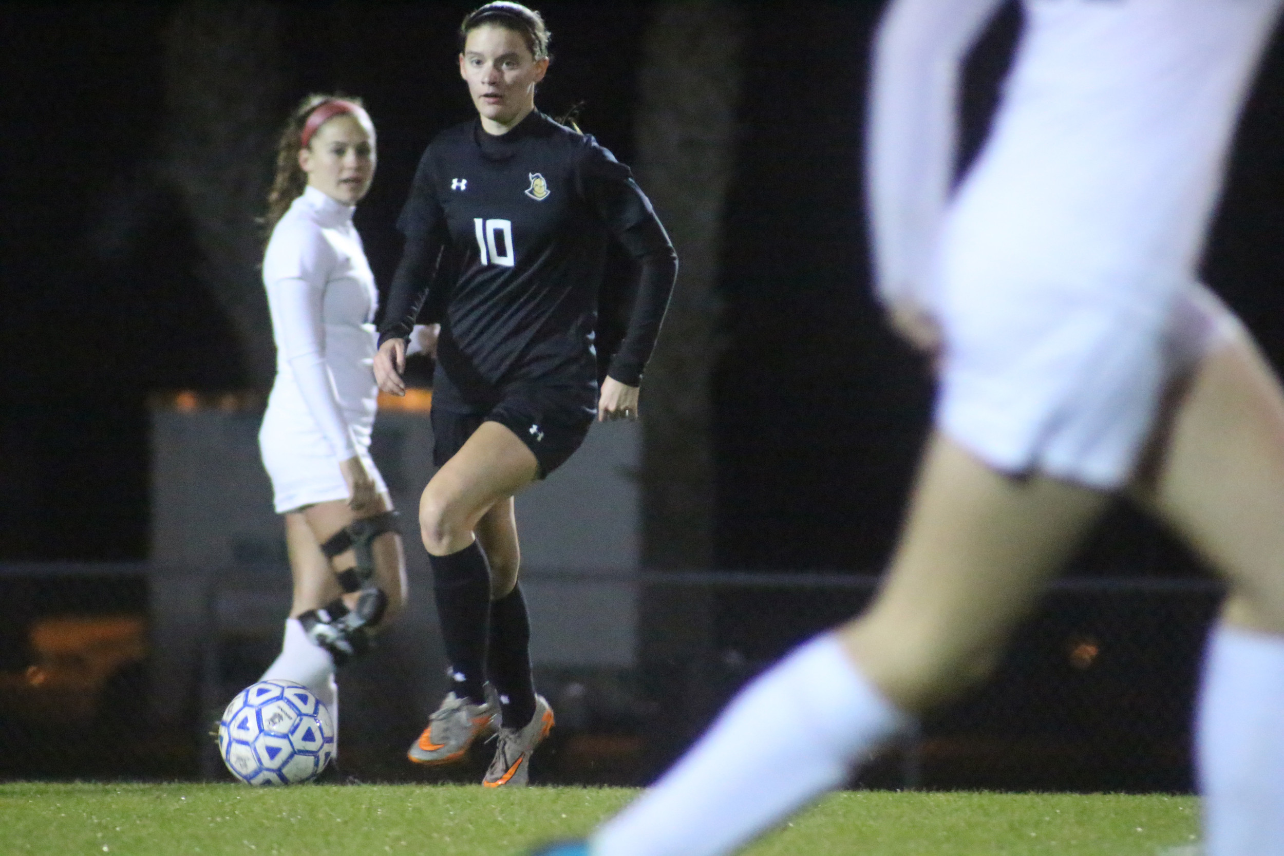 Oakleaf High senior Lindsay Patton scored first goal for Knights but found passing lanes crowded as Bartram Trail won 5-2 to end Oakleaf's season.