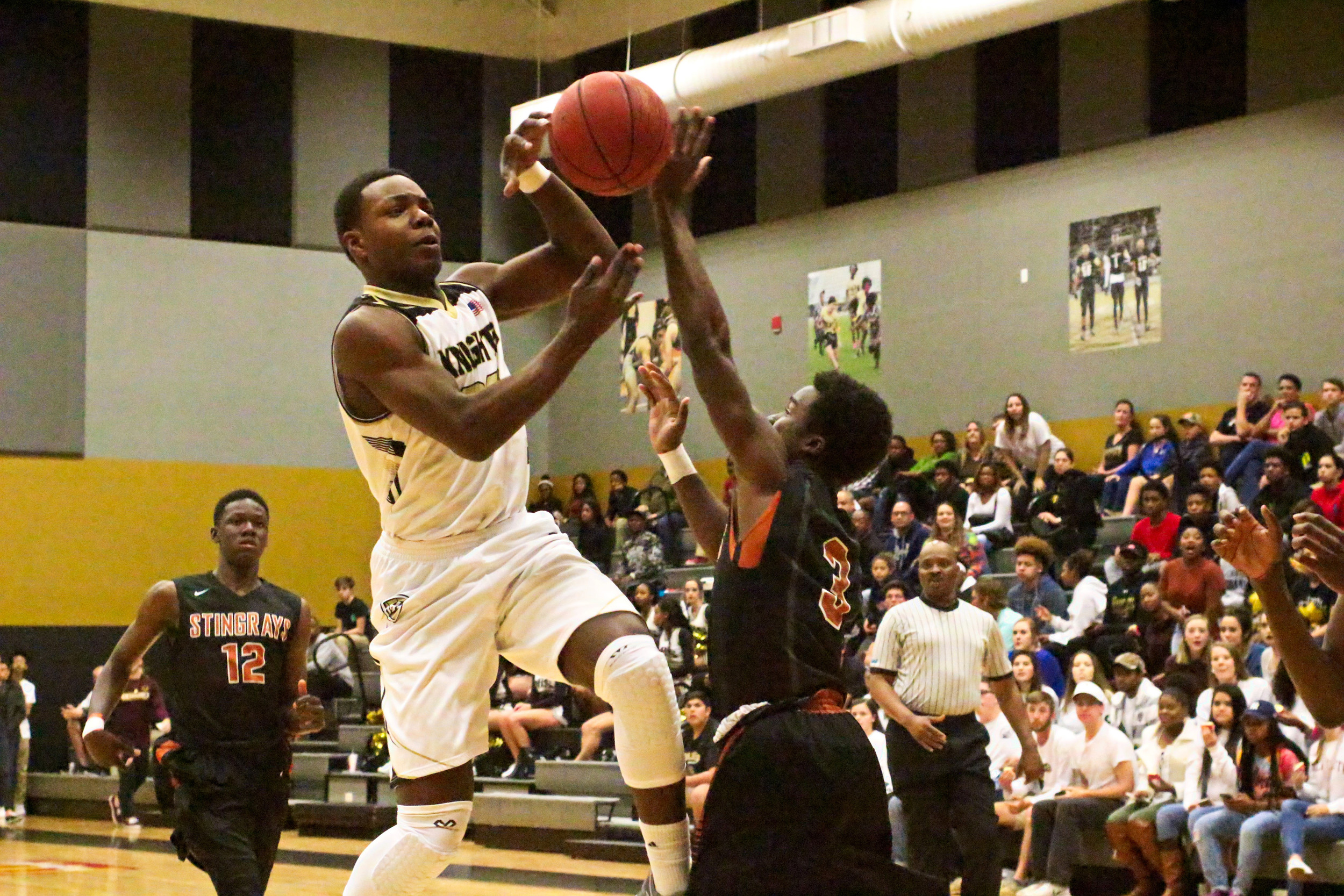 Oakleaf High forward Jonathan Bryant, who scored 30 points in Knights district final win over Creekside a week ago, was held to just 14 points by Atlantic Coast High School.