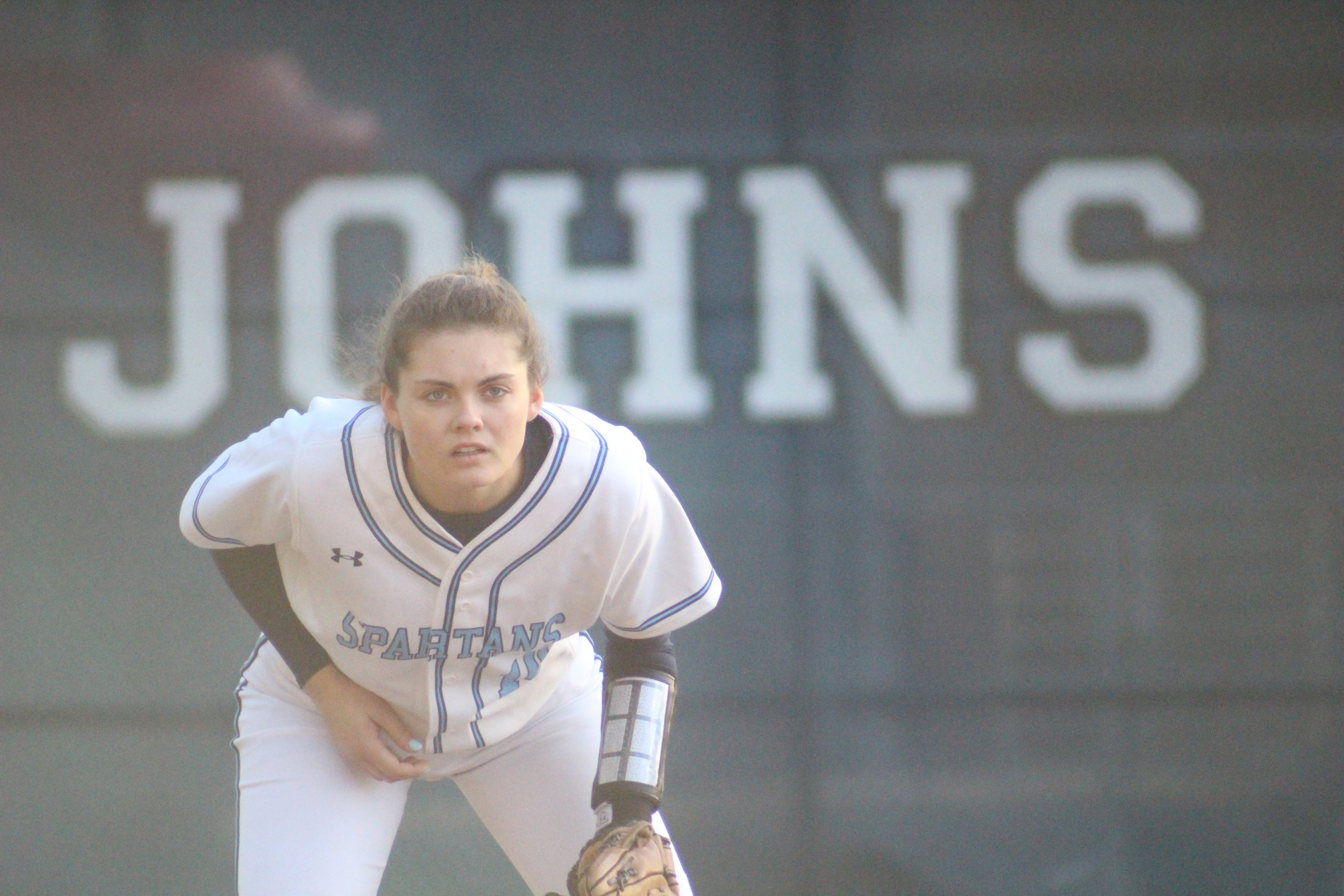 St. Johns Country Day School infielder Avery Wasdin eyeballs next pitch in Lady Spartans action on the St. Johns campus. Lady Spartans opened with four wins and hold a 6-2 record now.