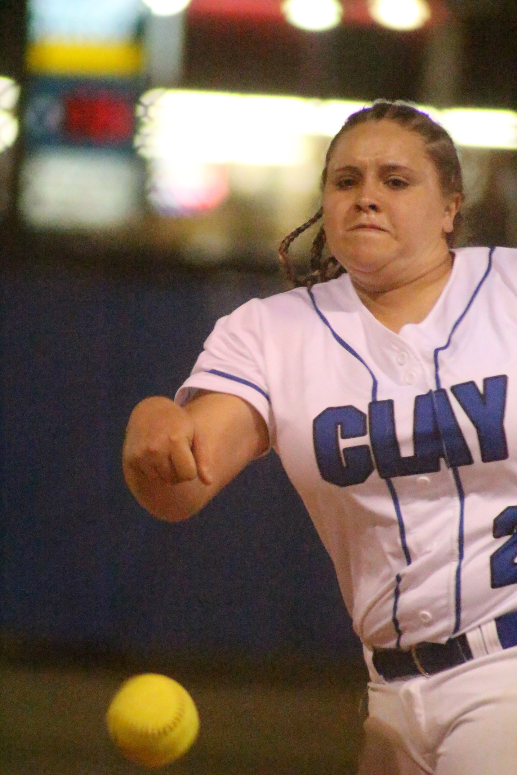 Clay High pitcher Ashley Stokes has been dominating on both sides of home  plate with strong pitching and big hits for the Blue Devils.