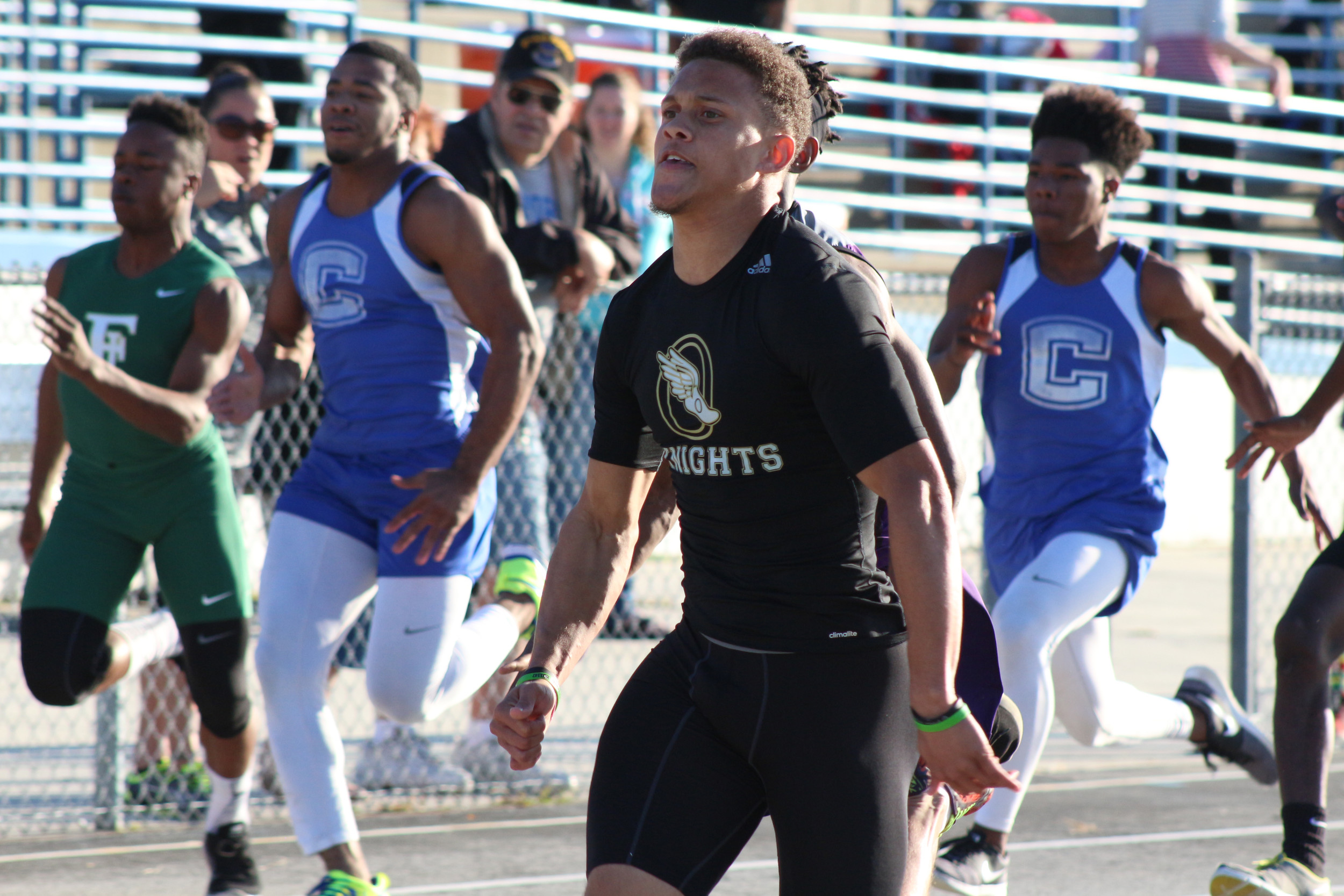 Oakleaf High sprinter Nick Roberts dominated the 100 meter dash with an 11.25 winning time over Marcus Floyd of Middleburg who finished second in 11.32.  Roberts also ran on two winning relays for the Knights.