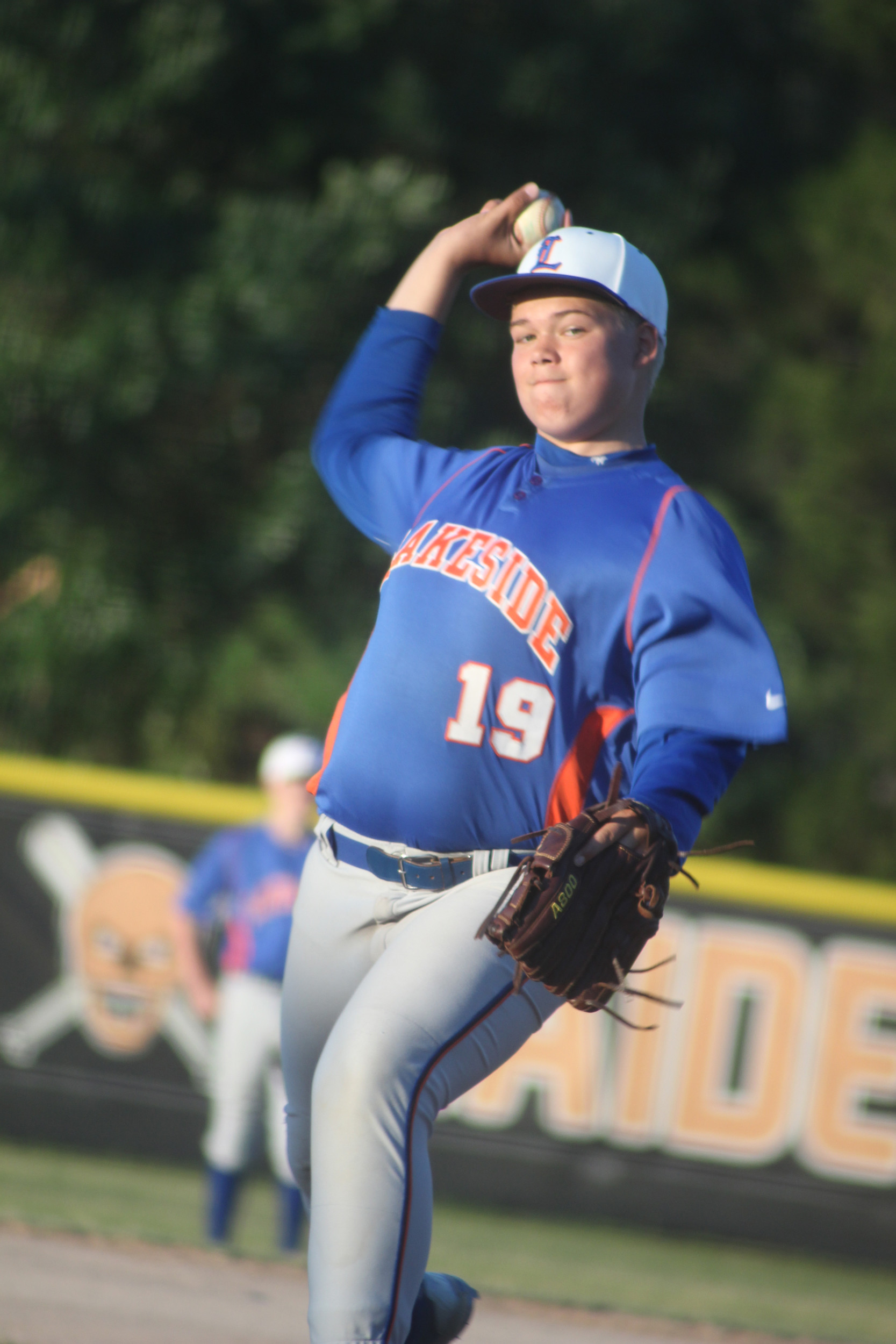 Lakeside Junior High pitcher Ben Johnson lets fly in Gators 7-5 win over Orange Park Junior High on Friday at Orange Park High School