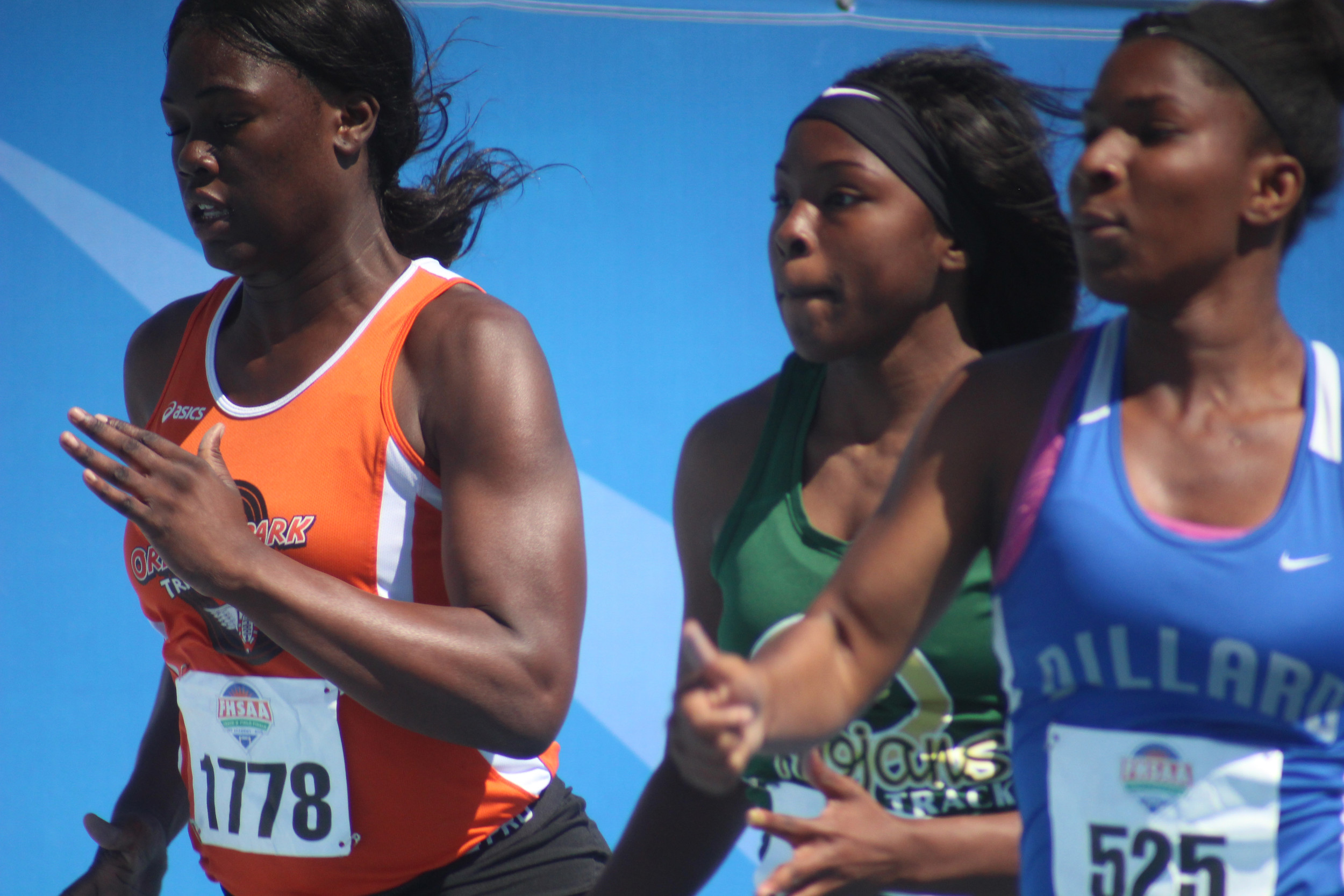 Orange Park High sprinter Candice Childs ran a 12.75 in her preliminary heat of the Class 3A 100 meter dash to finish 12th overall with winner Twanisha Terry of Miami Northwestern winning in 11.72.