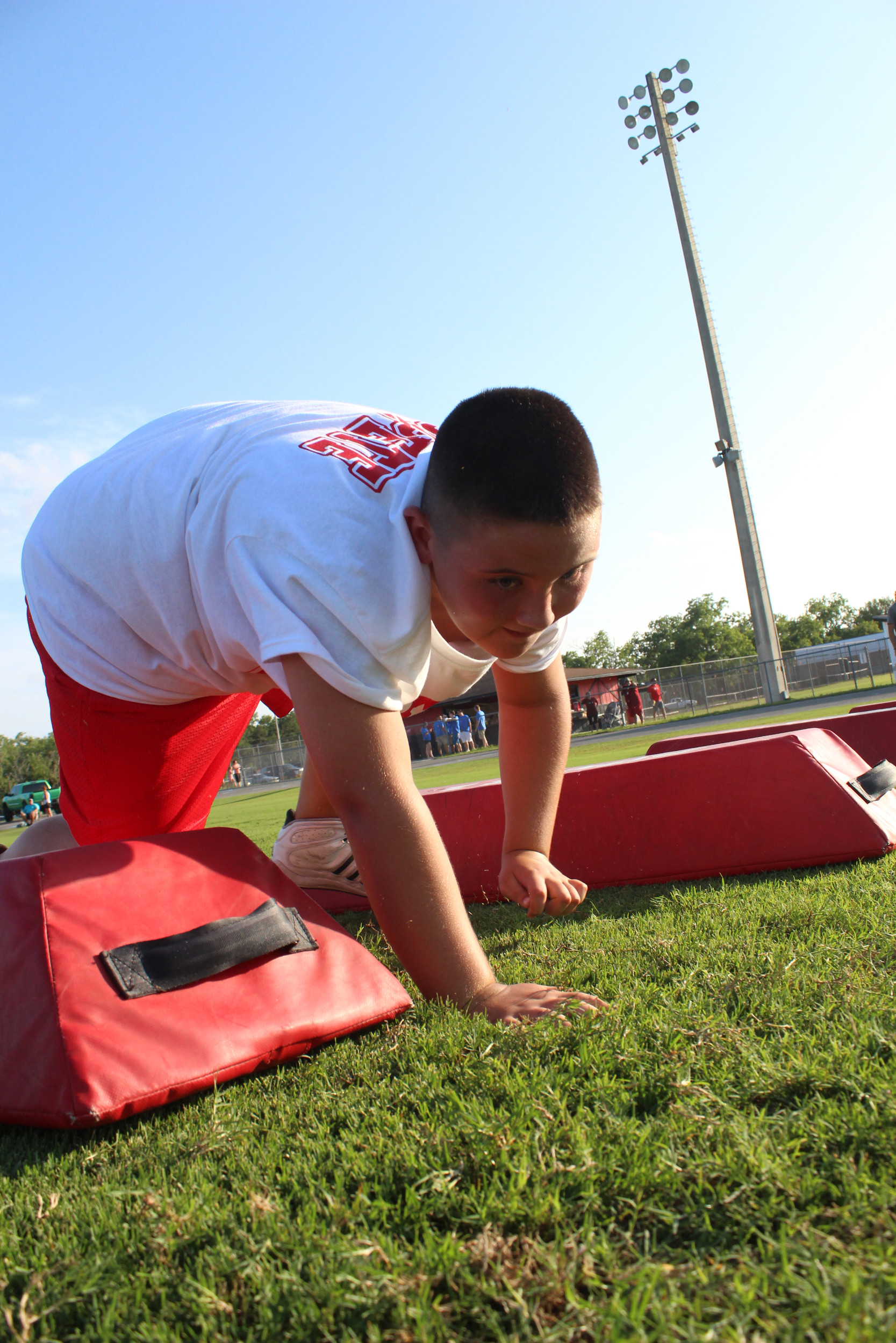 Power grinder Braden Cunningham was one of a crowd of football campers at Middleburg High grad Gary Barnidge's American Football Without Barriers camp on Friday. See more pics, page 31.