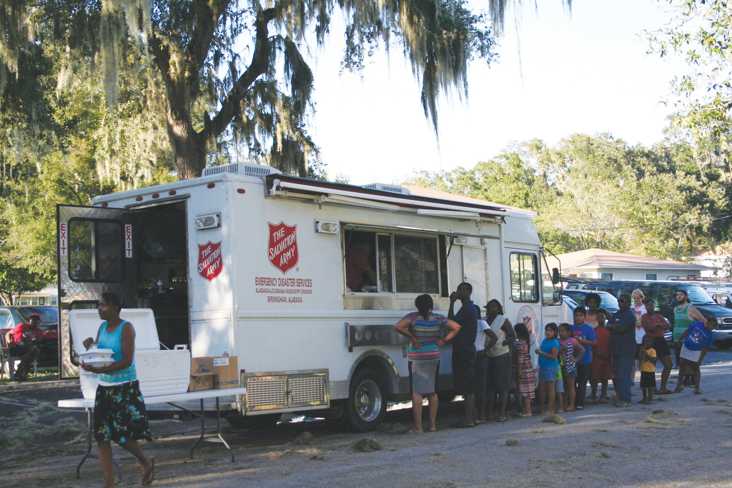 Residents of Green Cove Springs were treated to hot meals Oct. 8 by  a Salvation Army disaster services canteen that served 680 meals, 680 drinks and 680 snacks. Earlier that day, the canteen served 42 meals and 50 snacks at Meadow Brook near Orange Park. The food truck was one of eight sent to Florida for the storm.