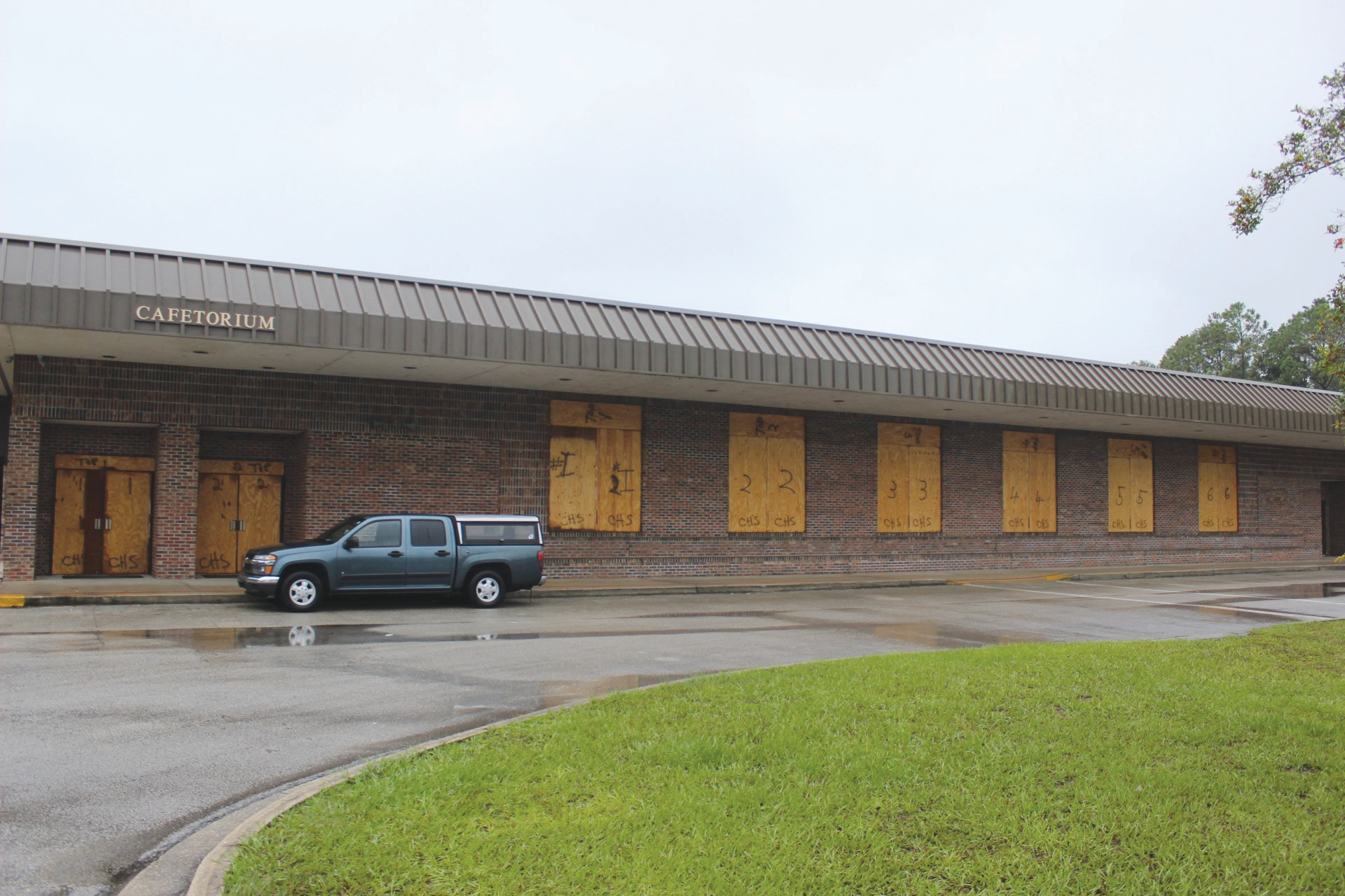 Originally boarded up, the Clay High cafetorium was later opened as an evacuation shelter at 5 p.m. on Oct. 6 as officials monitored the storm closer