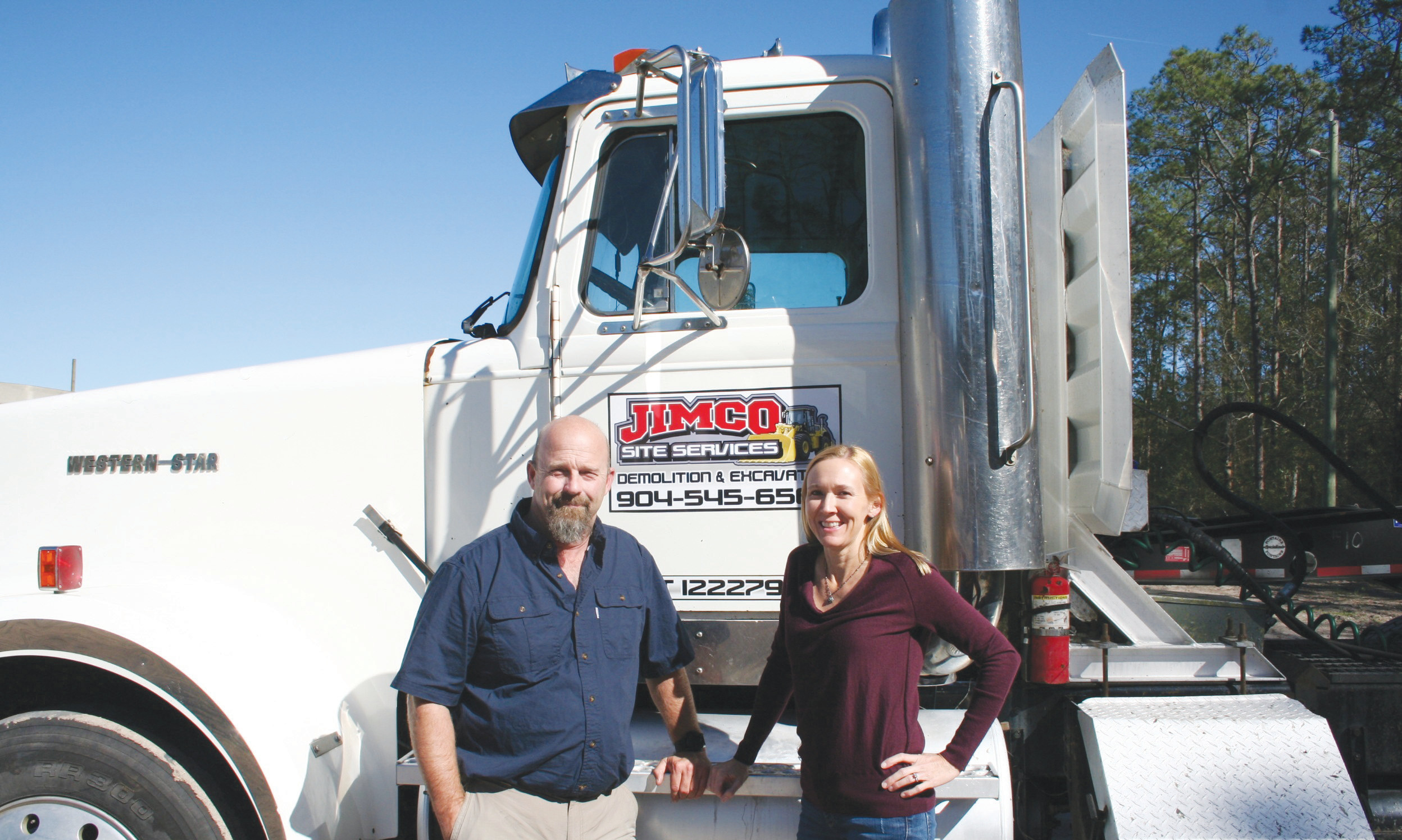 "Jim and Kristi Smith settled their new headquarters for Jimco Site Services in Green Cove Springs where they made a $1.1 million investment in the community. When asked how they named the company Kristi Smith said, ""He wouldn't let me name it Krisco."""