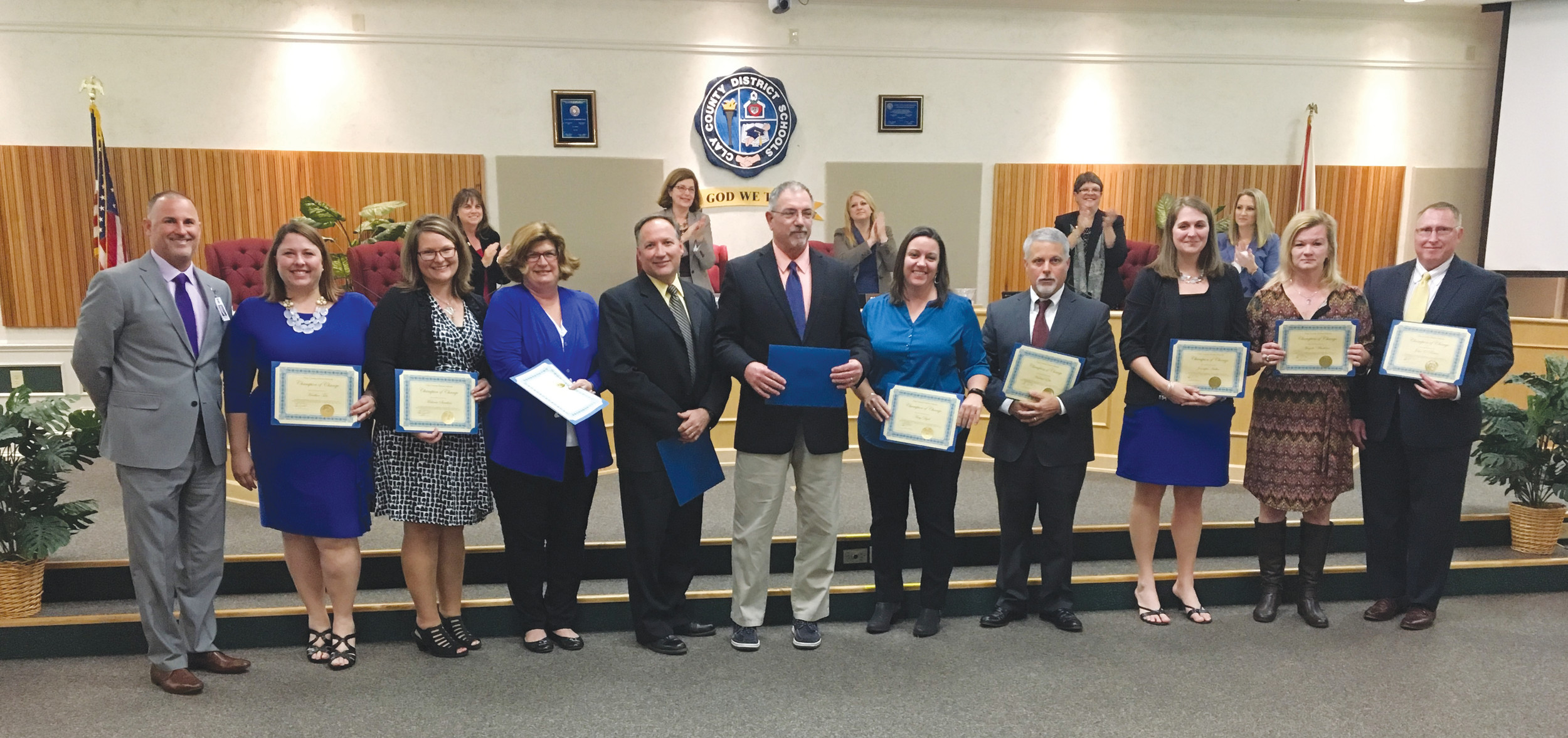 Shown here, from left, are School Superintendent Addison Davis, Wilkinson Elementary Principal Heather Teto, Keystone Heights Elementary Principal Melanie Sanders, Shadowlawn Elementary Principal Nancy Crowder, Clay High Principal Cary Dicks, McRae Elementary Marcus Dooley, Coppergate Elementary Principal Amy Dyal, Bannerman Learning Center Principal Mike Elia, Green Cove Springs Junior High Principal Jen Halter, W.E. Cherry Elementary Principal Angie Whiddon and Robert M. Paterson Elementary Principal John O'Brian.