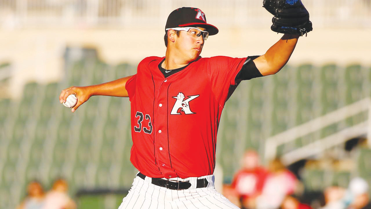 Former Clay High pitching standout Dane Dunning throws fastball in recent game for Kannapolis (NC) Intimidators. Dunning had an outstanding 13 strikeouts in game last week against the Hickory (NC) Crawdads in minor league baseball action.