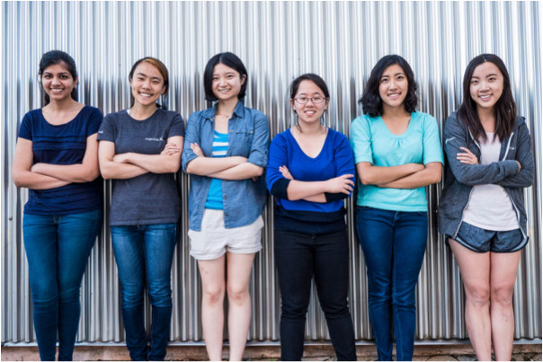 "From left, Chandani Doshi, Jessica ""Jialin"" Shi, Chen ""Bonnie"" Wang, Charlene Xia, Tania Yu and Grace Li of the Tactile team. 