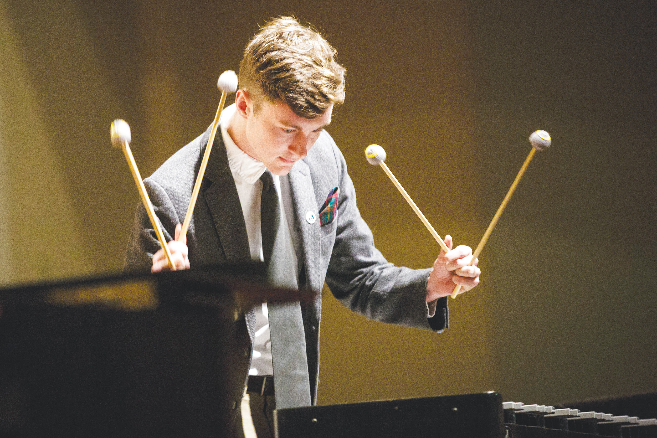 First-place instrumental finisher Michael Houde performs a piece on the vibraphone Monday evening during the final tryout to perform with the Jacksonville Symphony at the annual Concert on the Green.