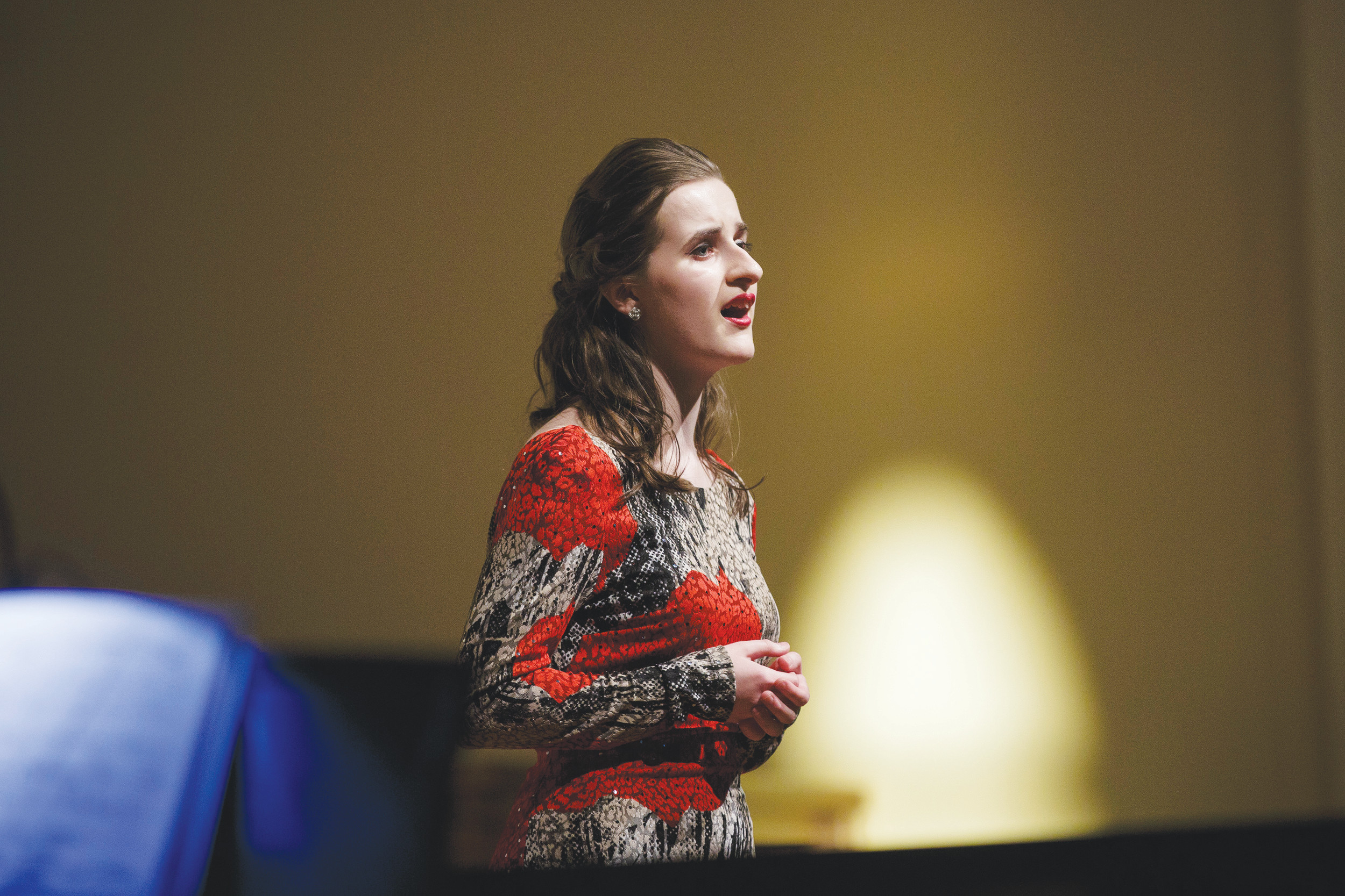"First-place senior vocal performer Isabella Scott performs ""Willow Song"" by Douglass Moore Monday evening at Grace Anglican Church during the final tryout to perform with the Jacksonville Symphony at the Concert on the Green this May."