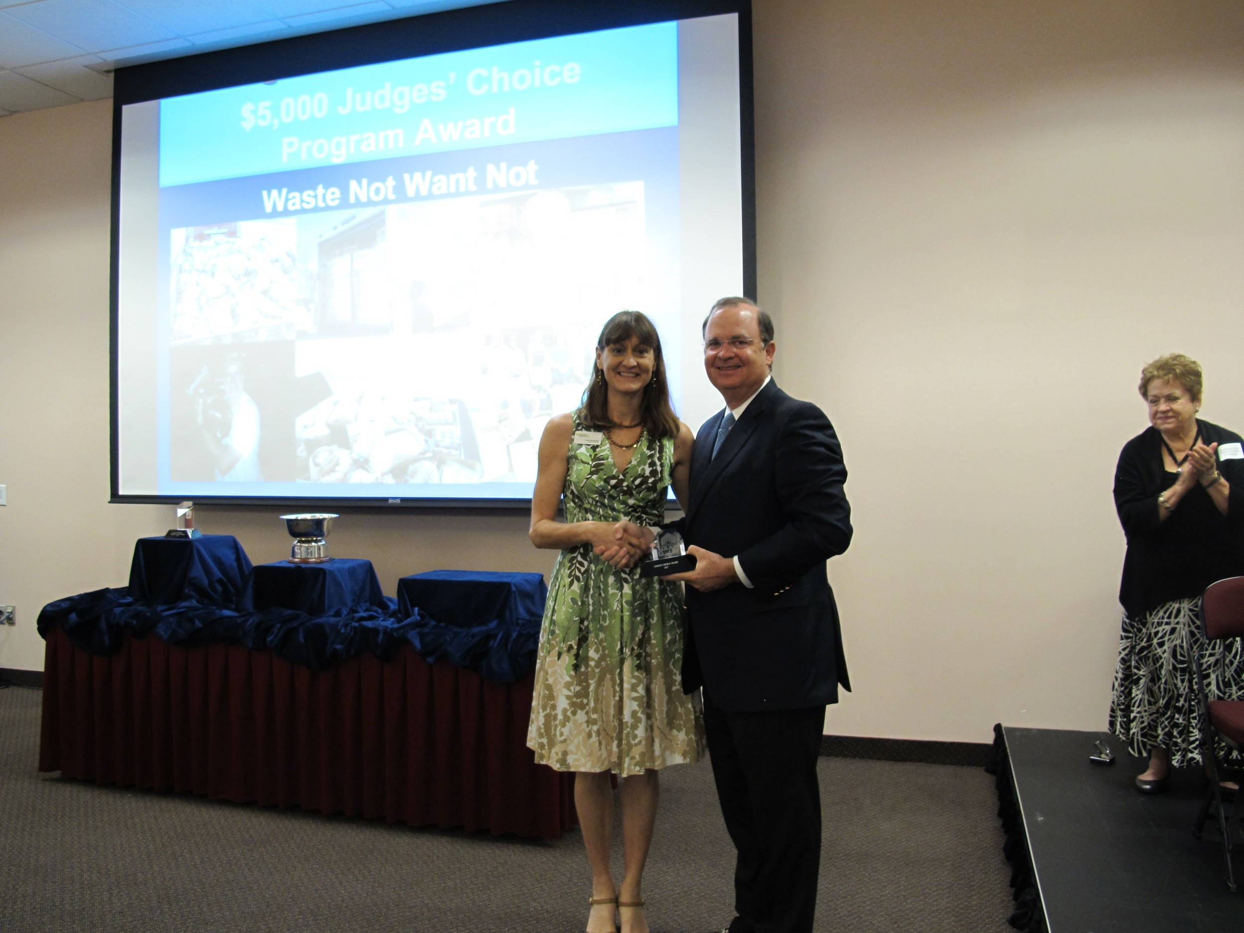 Waste Not Want Not Judges' Choice Program Award received by Sandra Staudt Killea, Executive Director.