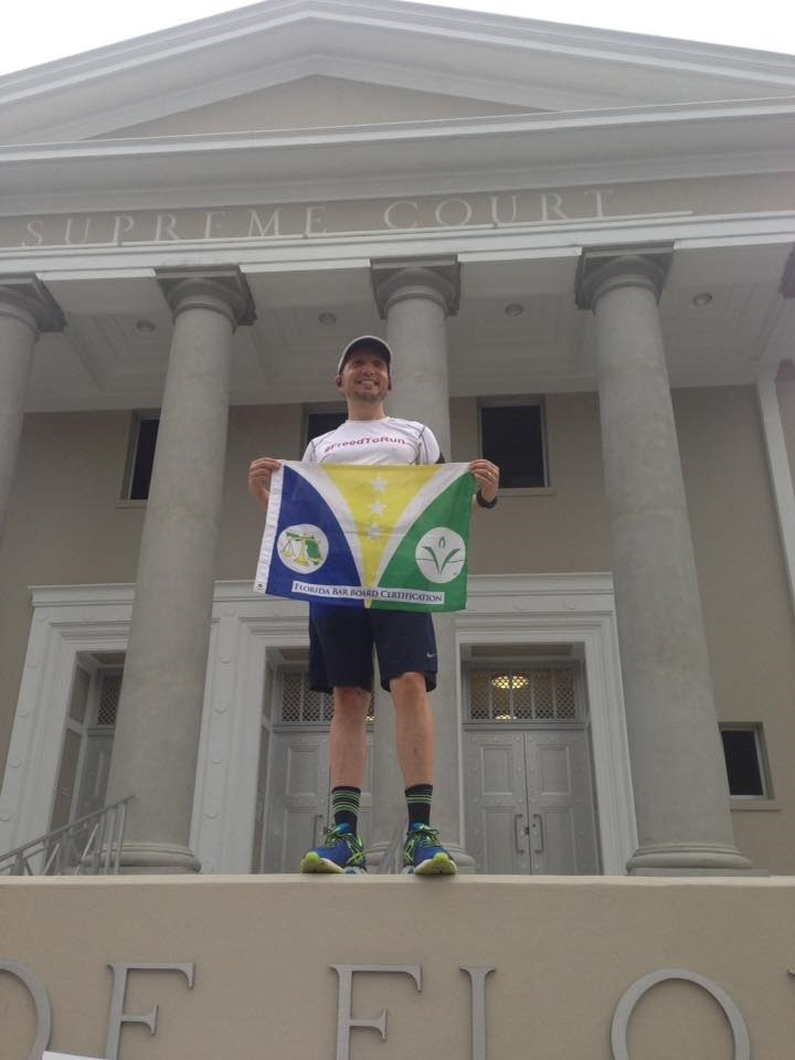Mike Freed started his six-day marathon at the Tallahassee Florida Supreme Court building.