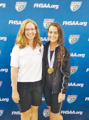 Oakleaf High sprint swimmer Elianna Kennon fended off hard chases by younger swimmers to take her gold medal.