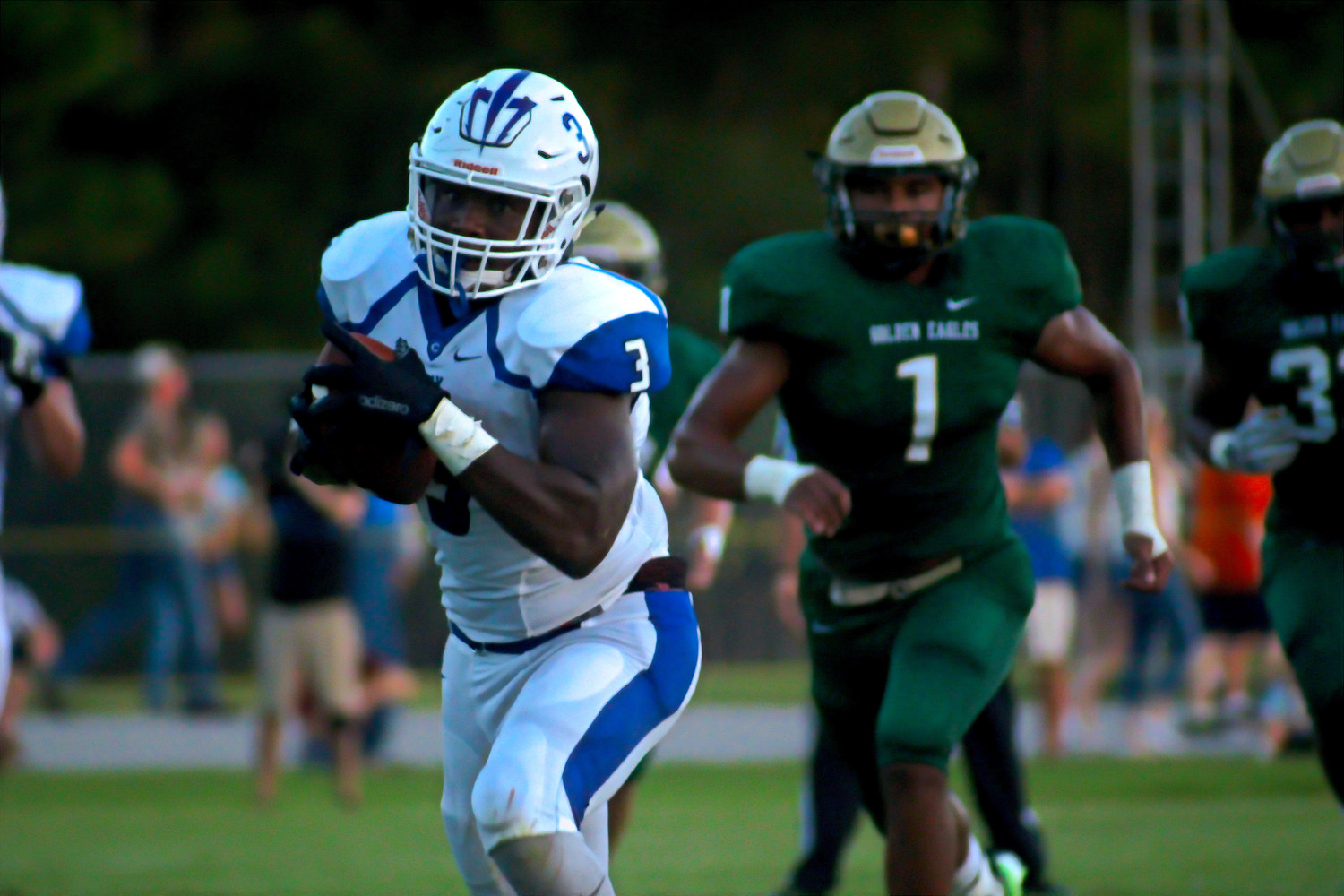 Clay running back Colin Wilson, now at Louisville,  caught a 53 yard scoring  pass ahead of Wake Forest commit Ryan Smenda to score the first touchdown of the game. Wilson scored both Clay touchdowns.