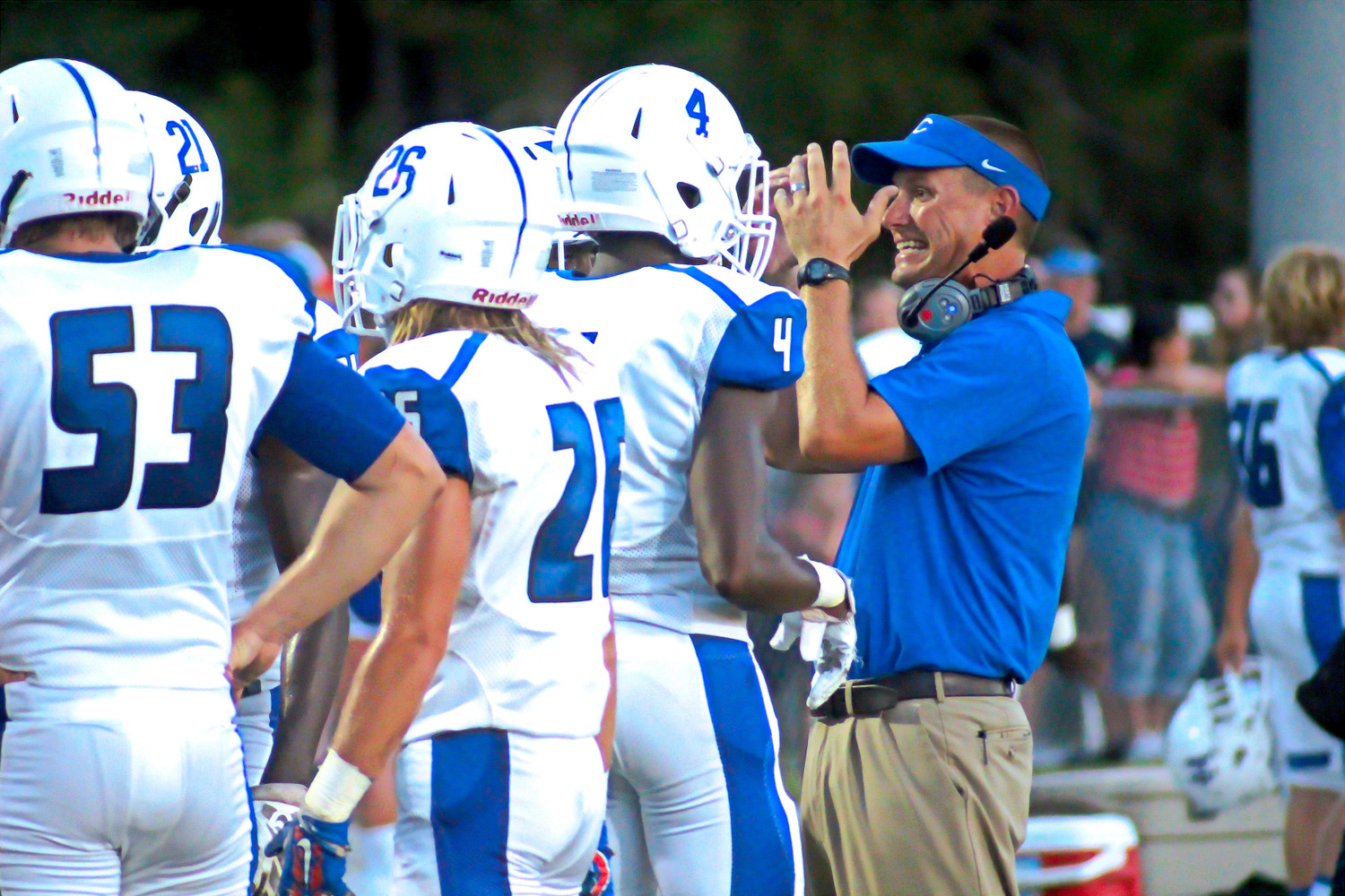 Clay High coach Joshua Hoekstra was frustrated throughout the game with a series of dropped passes and fumbles that stalled Blue Devil scoring efforts.