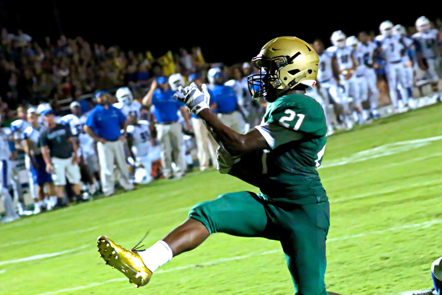 Returning senior tailback Anfernee McCaskill caused fits for Clay defense with his outside sweeps getting yards including this high-stepping touchdown in the first half that put Fleming Island uip 21-7.