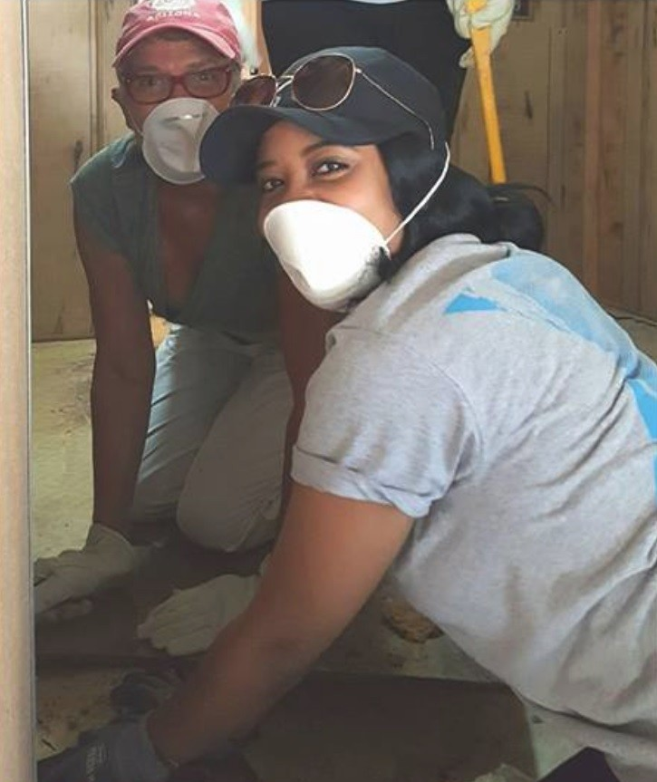 Here, volunteers from Crossroads Christian Church in Evansville, Indiana, work on one of two home repair projects along Black Creek who were flooded after Hurricane Irma. They responded on behalf of the Clay SafetyNet Alliance.