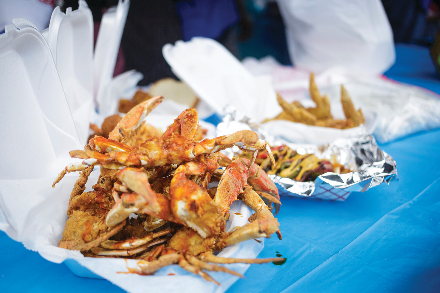 A variety of foods sit on a table Saturday at the Soul Food Festival in Green Cove Springs. The annual event  brings out the best of the best of the soul food industry from Jacksonville and Clay County with offerings ranging form garlic crab, to gumbo, to every type of barbecued meat a person would expect.