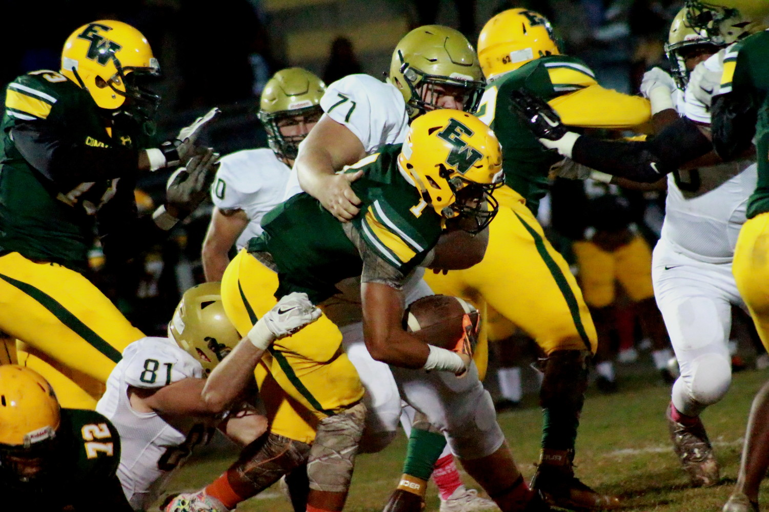 Fleming Island defensive linemen Jake Libretto, No. 81, and Will Hudgins, No. 71, 