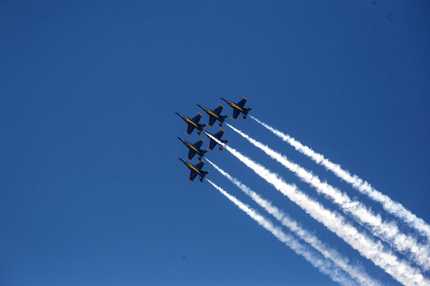 All six Blue Angels aircraft fly in formation Friday during a run-through of the performance they would give during this year's Naval Air Station Jacksonville air show.