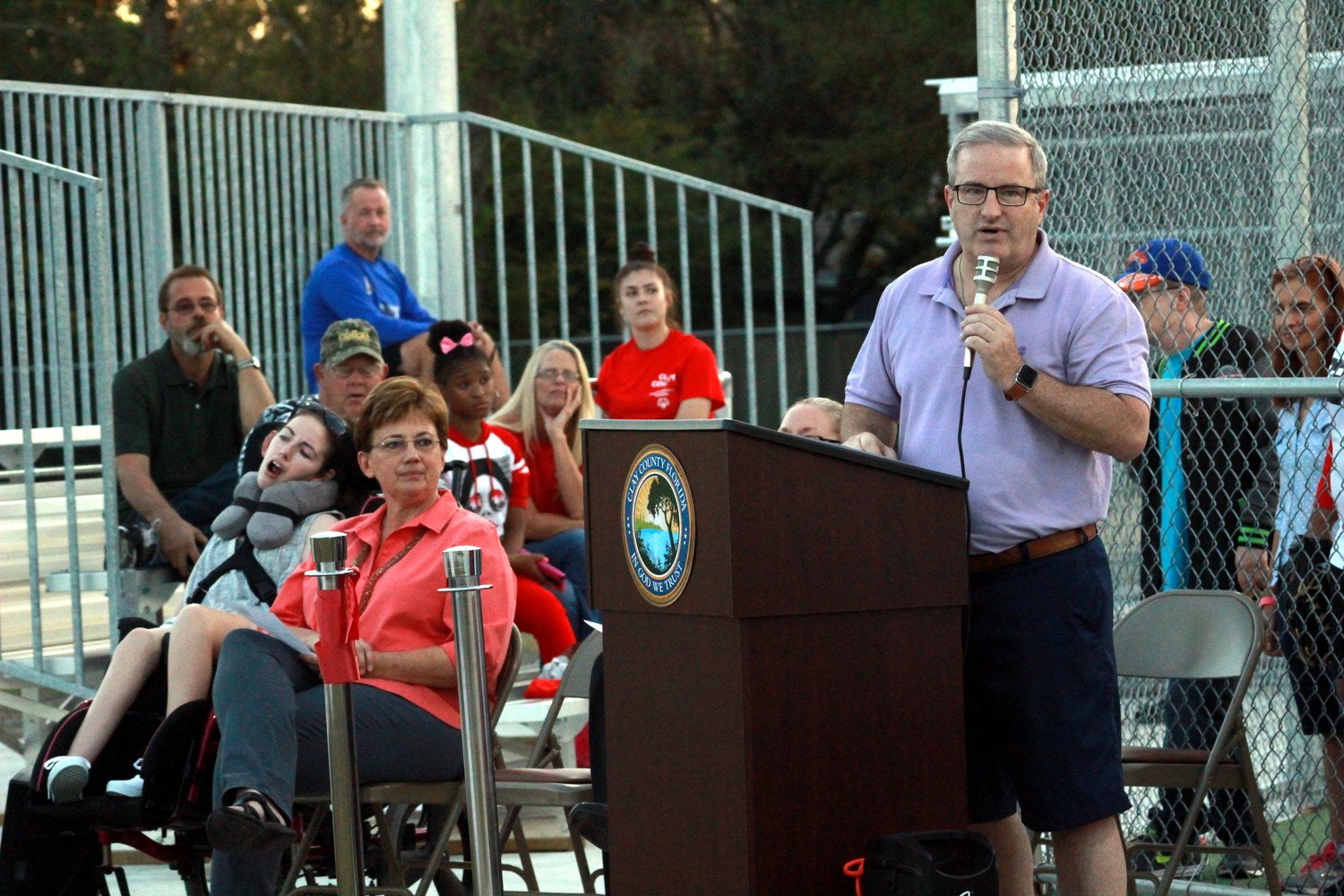 Fleming Island resident Brian McElyea talks about how the new disability-friendly baseball park inside Moody Avenue Park is a dream-come-true for his daughter and family. The ballpark was dedicated Nov. 7.