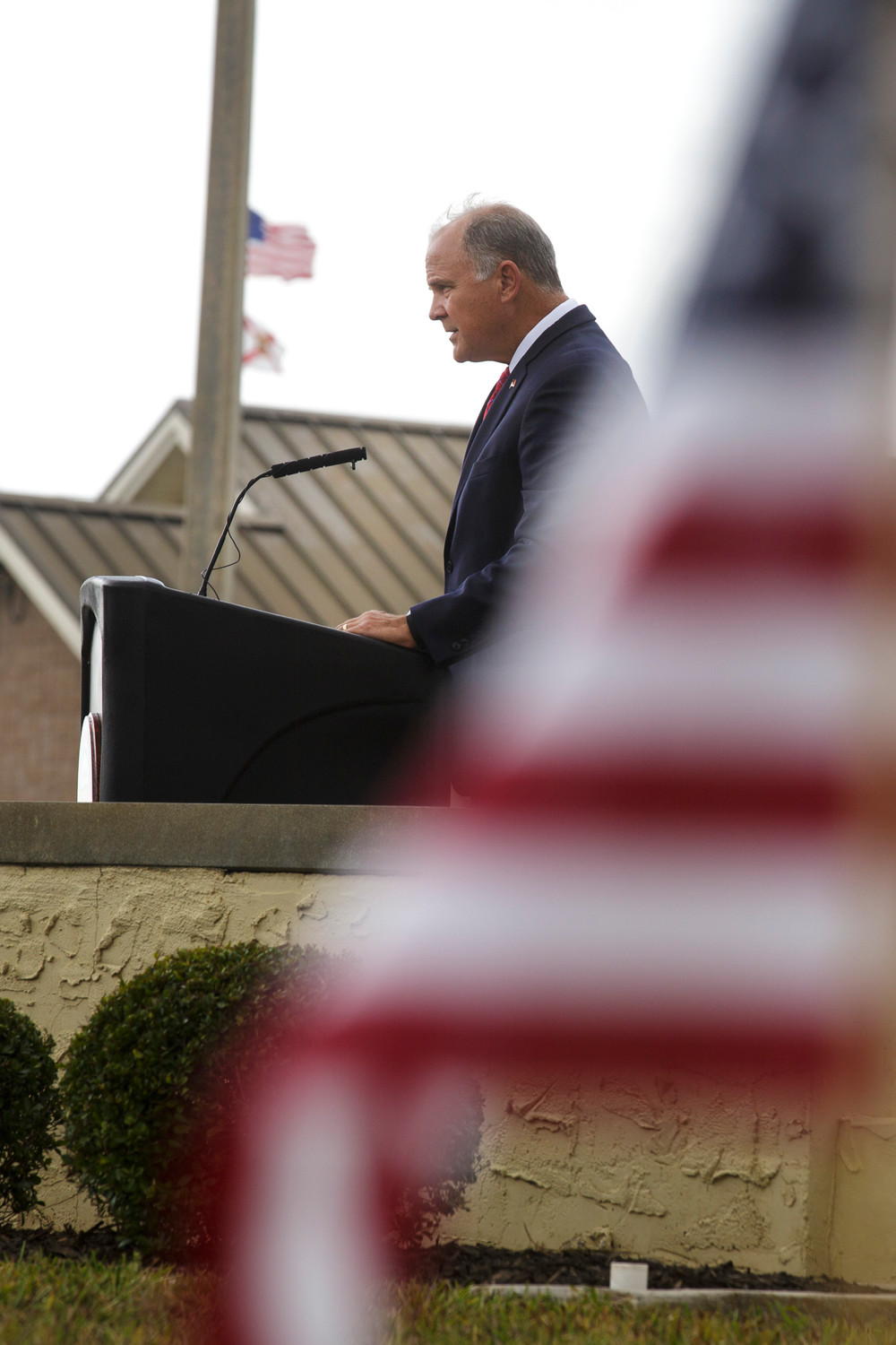 State Rep. Bobby Payne spoke briefly during a Veteran's Day ceremony at Camp Blanding Joint Training Center Saturday.
