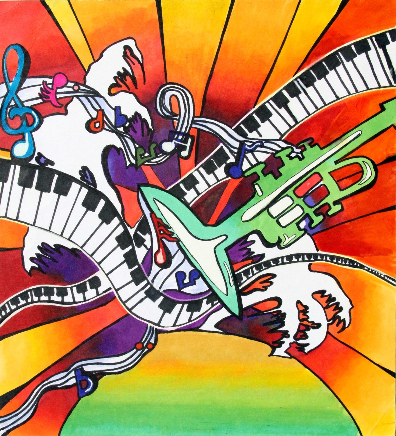 "Shown here is the 2017 winning poster titled, ""Musical World,"" which was created by Orange Park High School student Adrianna Horne, a student of art teacher Carrie Keene. Horne's was the official Concert on the Green poster and was printed on the front cover of the program for the 2017 outdoor concert held at St. Johns Country Day School."