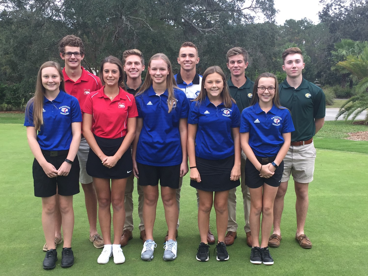 "Here is the inaugural ""Clay All-County Coaches Golf Team"" for the 2017-18 school year. In the front row, from left, are Camille Jackson, Victoria Green, Sloane Siebert, Savannah Heinz, Candice Jackson. From left is the back row are Cody Carroll, Peyton Billings, Arden Brake, Jacob Godwin, Tyler Broadus"