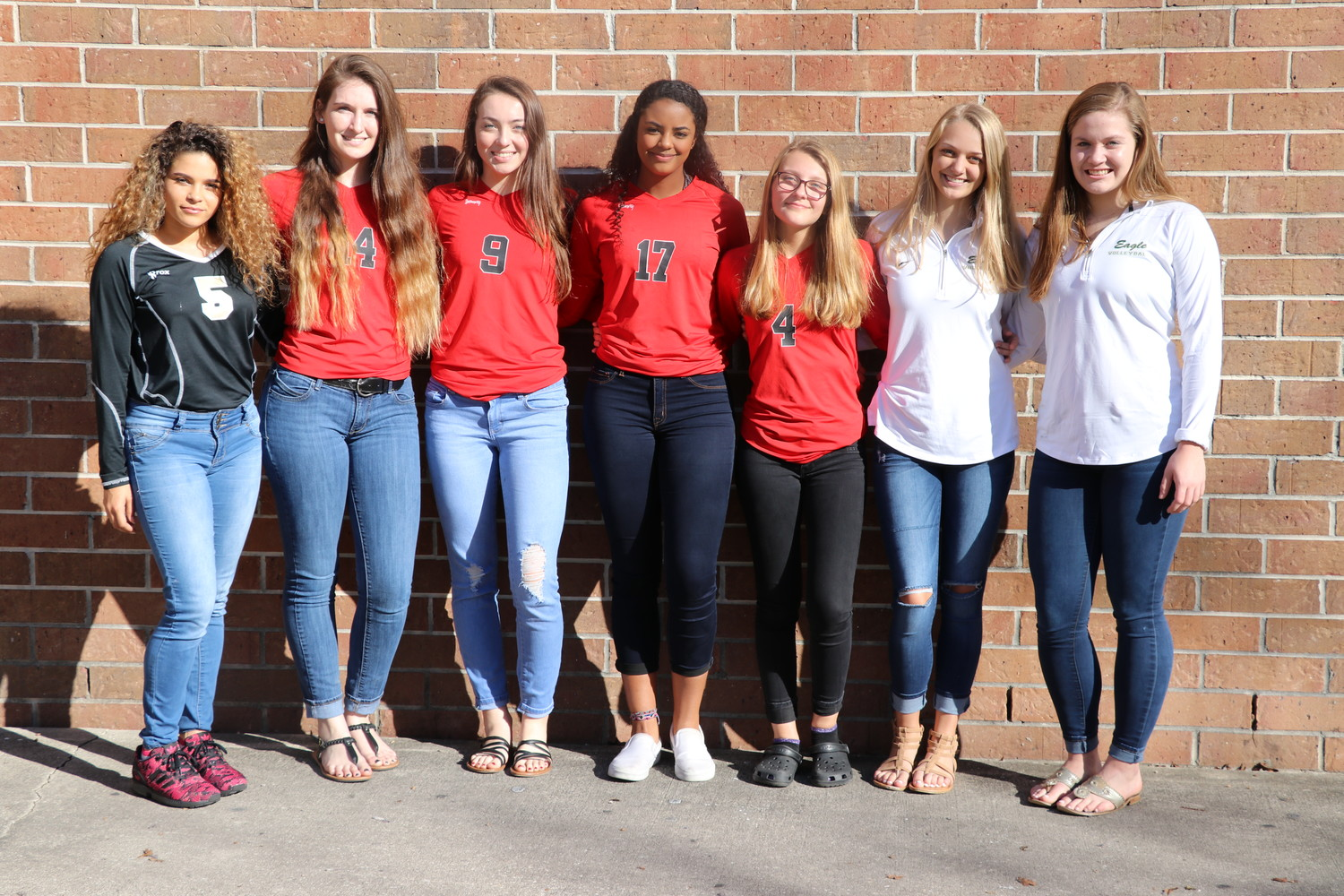 "The Clay County School District's 1st Team ""All-County Coaches Team"" is comprised of, from left, Andrea Merced, Jillian Bemis, Mallory Roney, Brittany Range, Tonee Hughes, Natalie Nieuwenhuis and Emily Charbonneau."