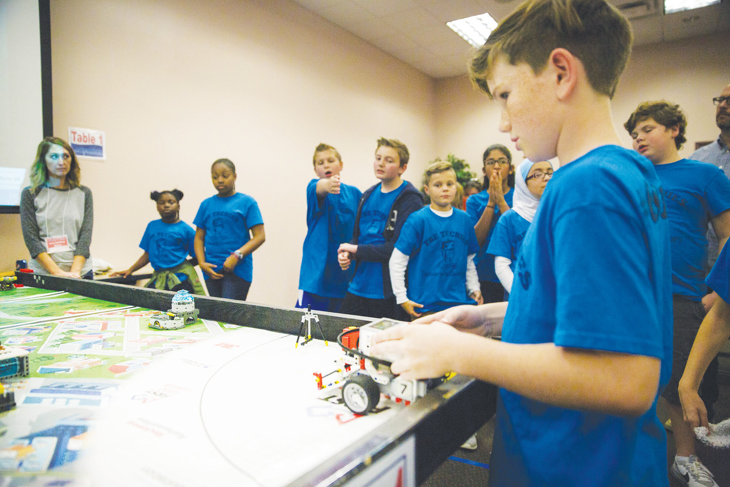 Students from the Thunderbolt Elementary robotics team prepare for head-to-head competition last Wednesday during the Robo Thrasher One qualifying event that determines which teams will move on to the regional level of competition.