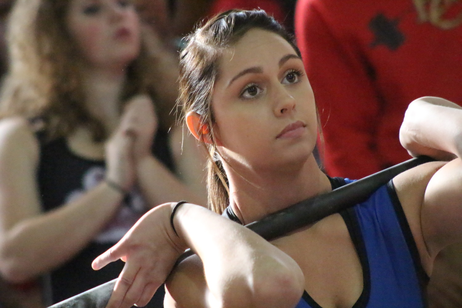 Clay High's Carli Mcrae settles in her clean and jerk en route to gold medal in 139 pound weight division.  Mcrae totaled 325 pounds with second a distant 245 pounds.