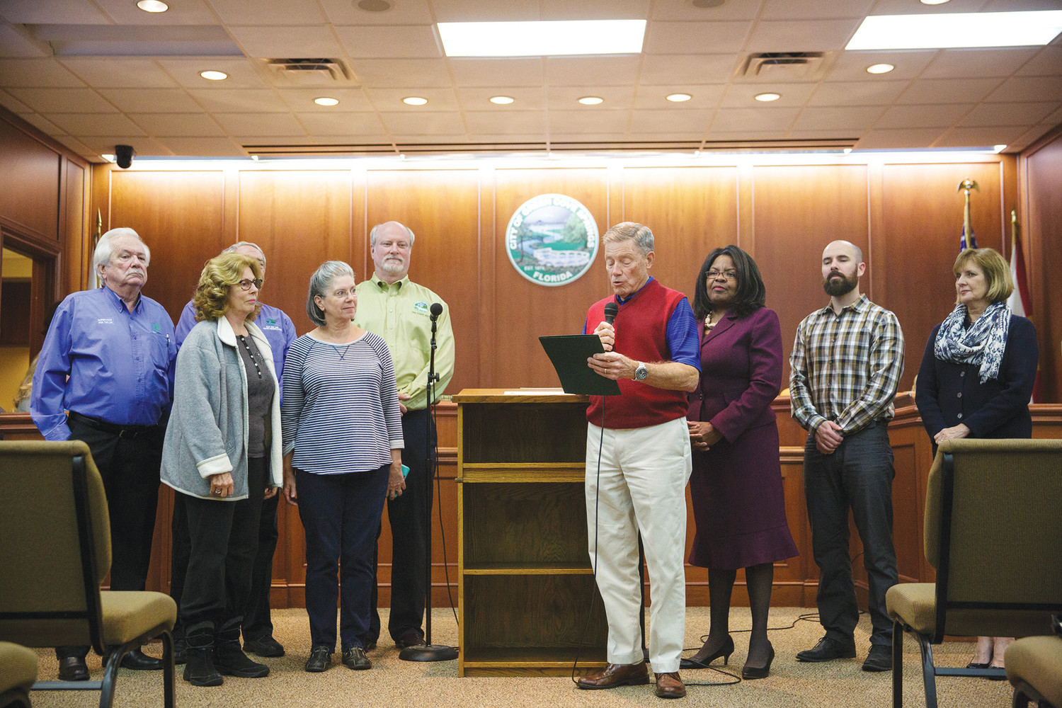 Green Cove Springs Mayor Mitch Timberlake reads a proclamation Tuesday evening at the council's regularly scheduled meeting recognizing Arbor Day as being held statewide on the third Friday in January. The city has been an official Tree City USA Community for almost 30 years.