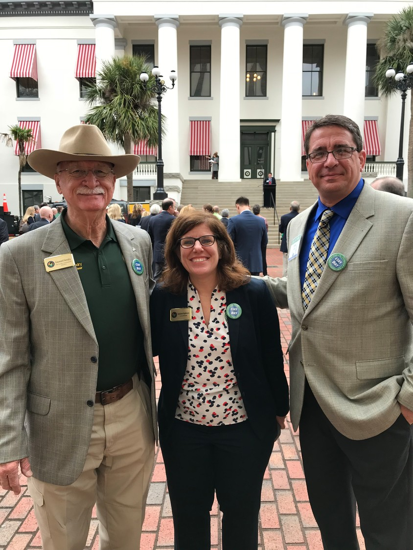 County Commissioner Gayward Hendry, County Manager Stephanie Kopelouses, Clay County Emergency Services Director John Ward.