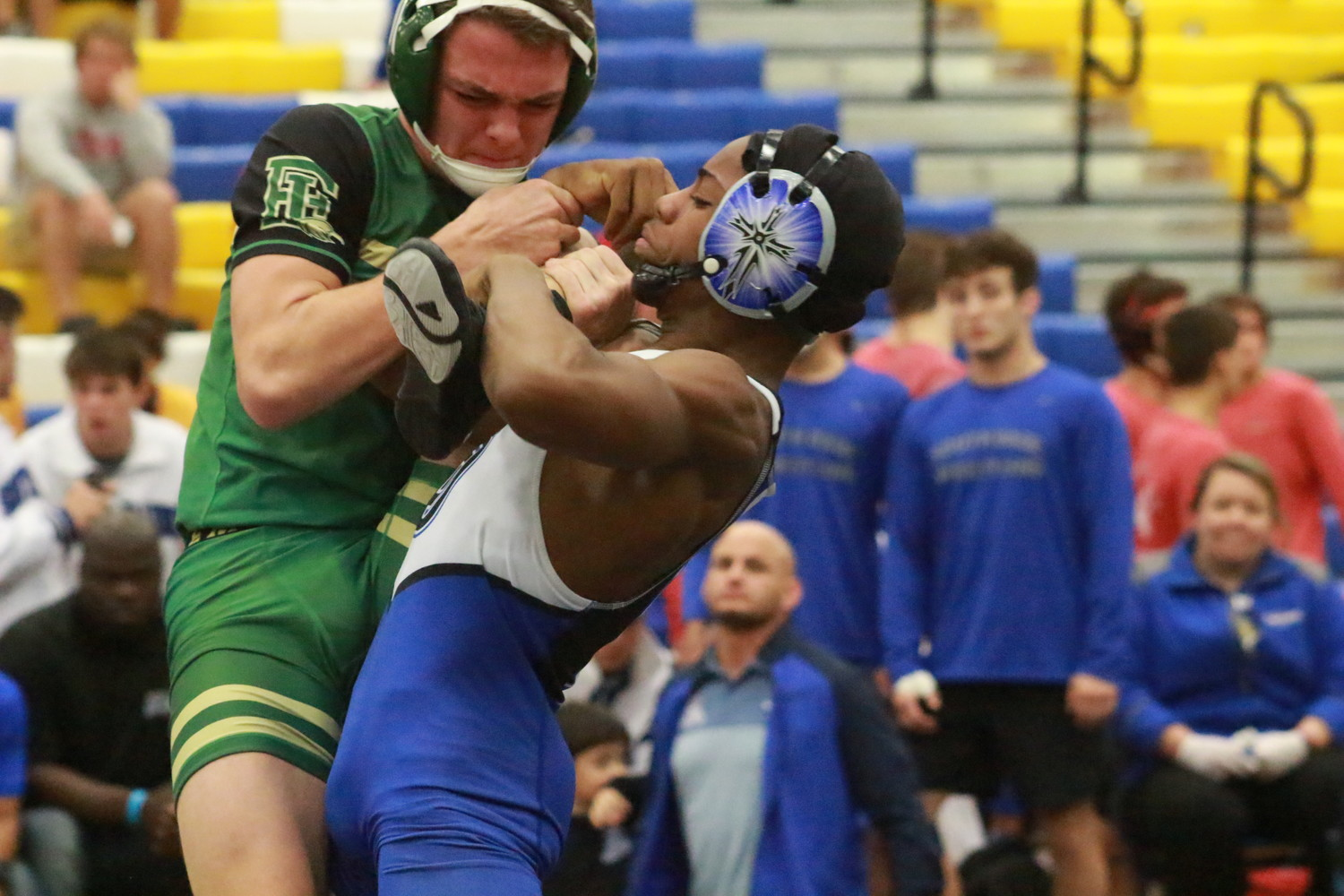 Fleming Island High sophomore Tyler Williams had some tough going against South Dade's Joshua Swan who won convincingly 17-6 at 138 pounds.