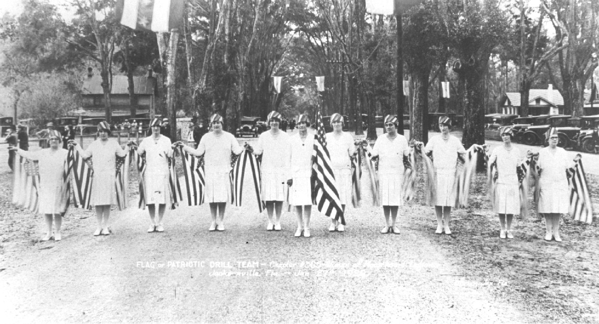 A ladies marching drill troop, in town for a Loyal Order of Moose Annual Convention, joined the parade celebrating the 1924 arrival of electricity in Orange Park. They stole the show.